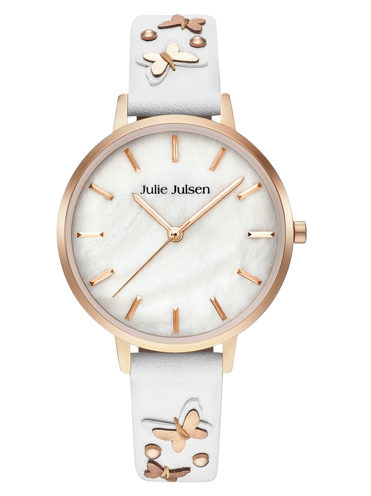Julie Julsen JJW103RGL-9S Uhr Damenuhr Lederarmband Weiß