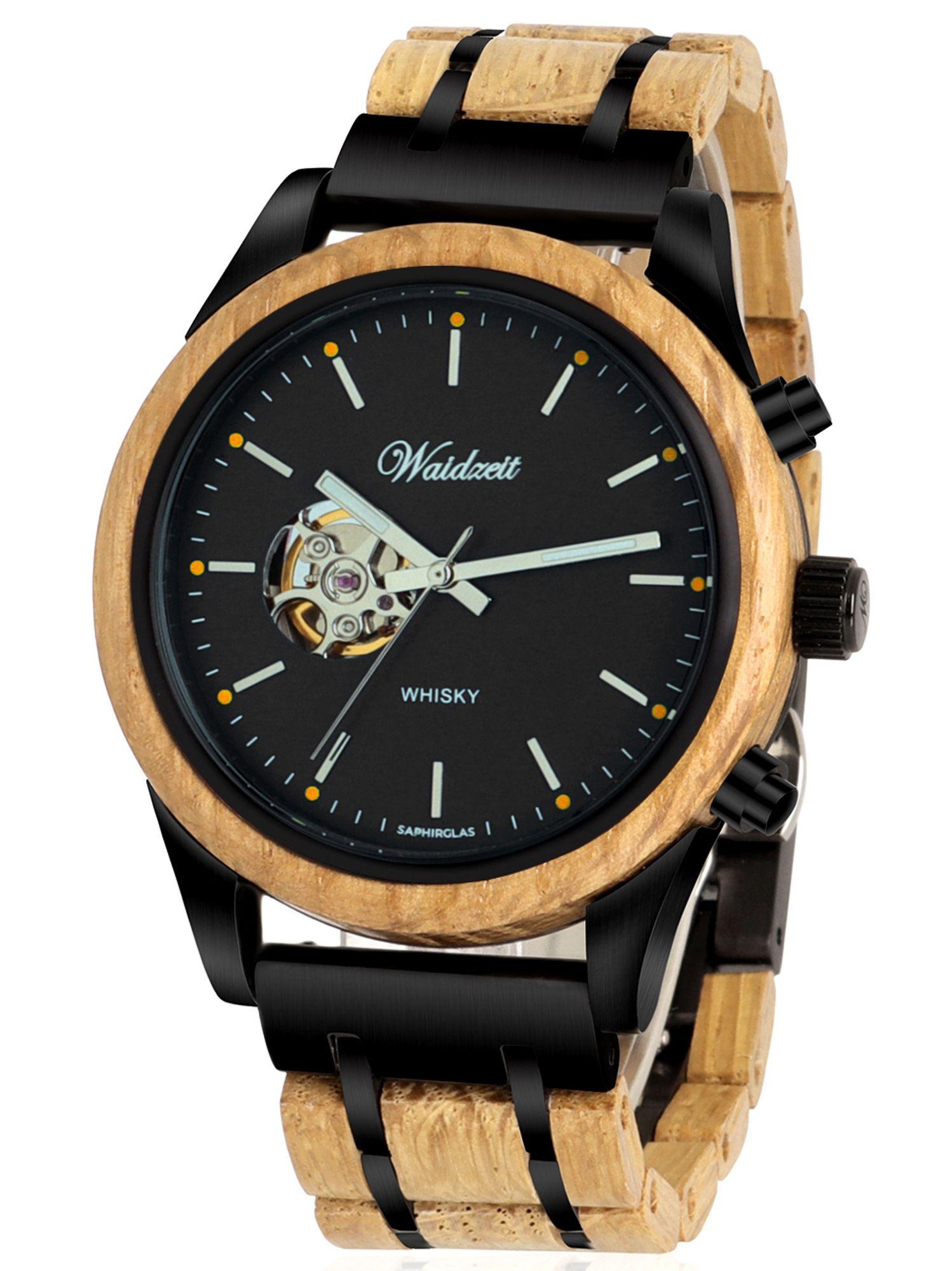 Waidzeit WB01 Whisky Automatik Uhr Herrenuhr Holz braun