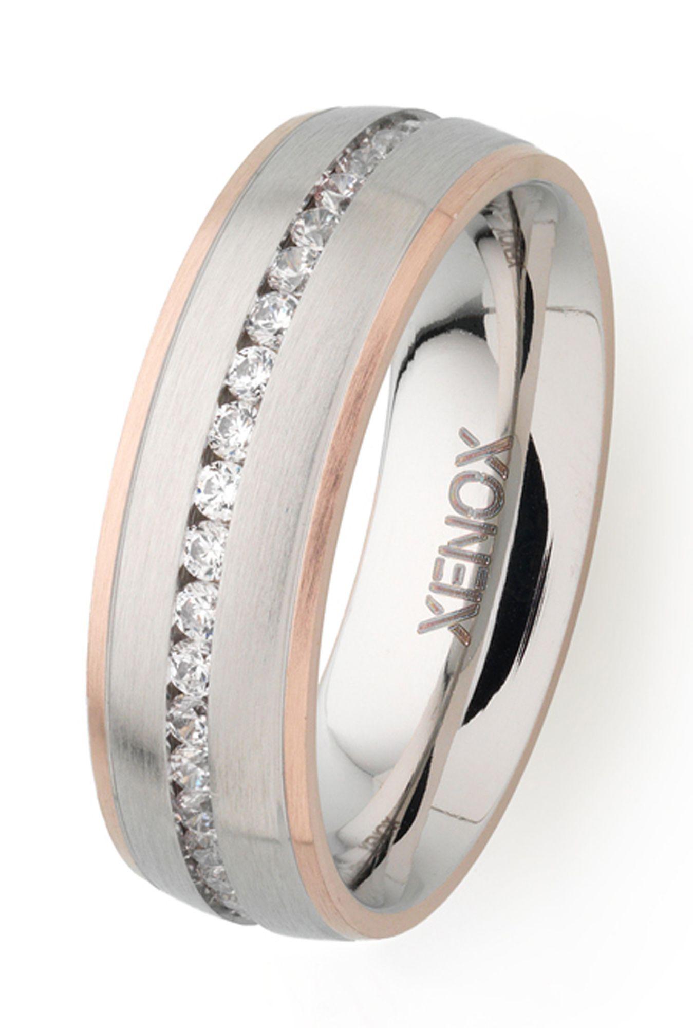 XENOX X2251/54 Damen Ring Edelstahl Bicolor Rose weiß 54 (17.2)