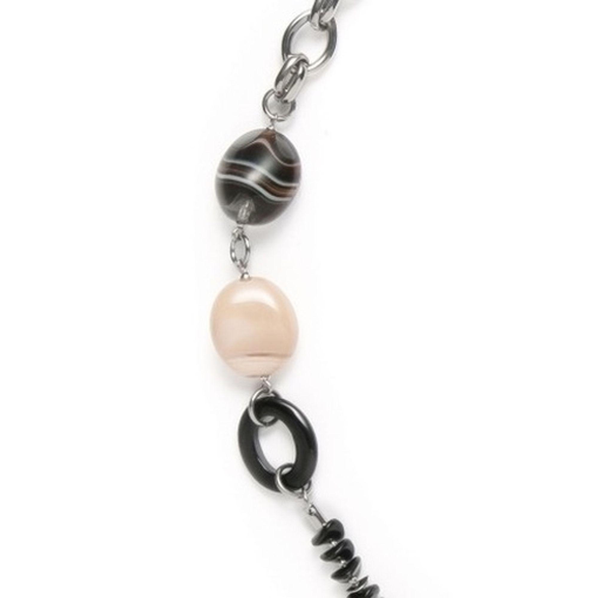 Leonardo 013404 Damen Collier Stahl Halskette predator 100 cm Glassteine beige