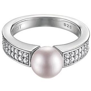 Esprit ESRG91587C Damen Ring Silber precious glam sunset mit Zirkonia weiß u. synth. Perle lavendel Größe 53 (17,0 )