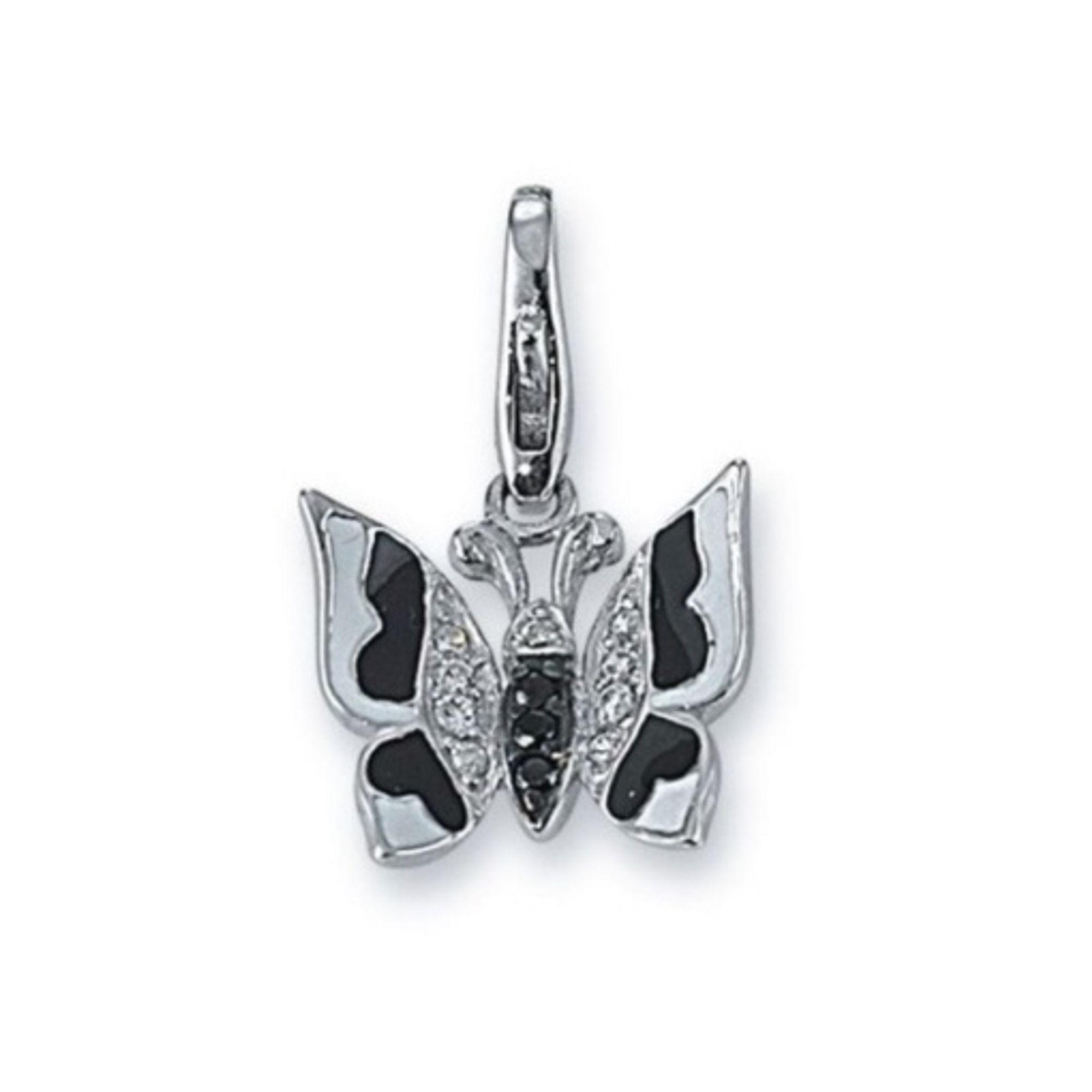GOOIX Charms GXC366 Anhänger Silber Schmetterling schwarz