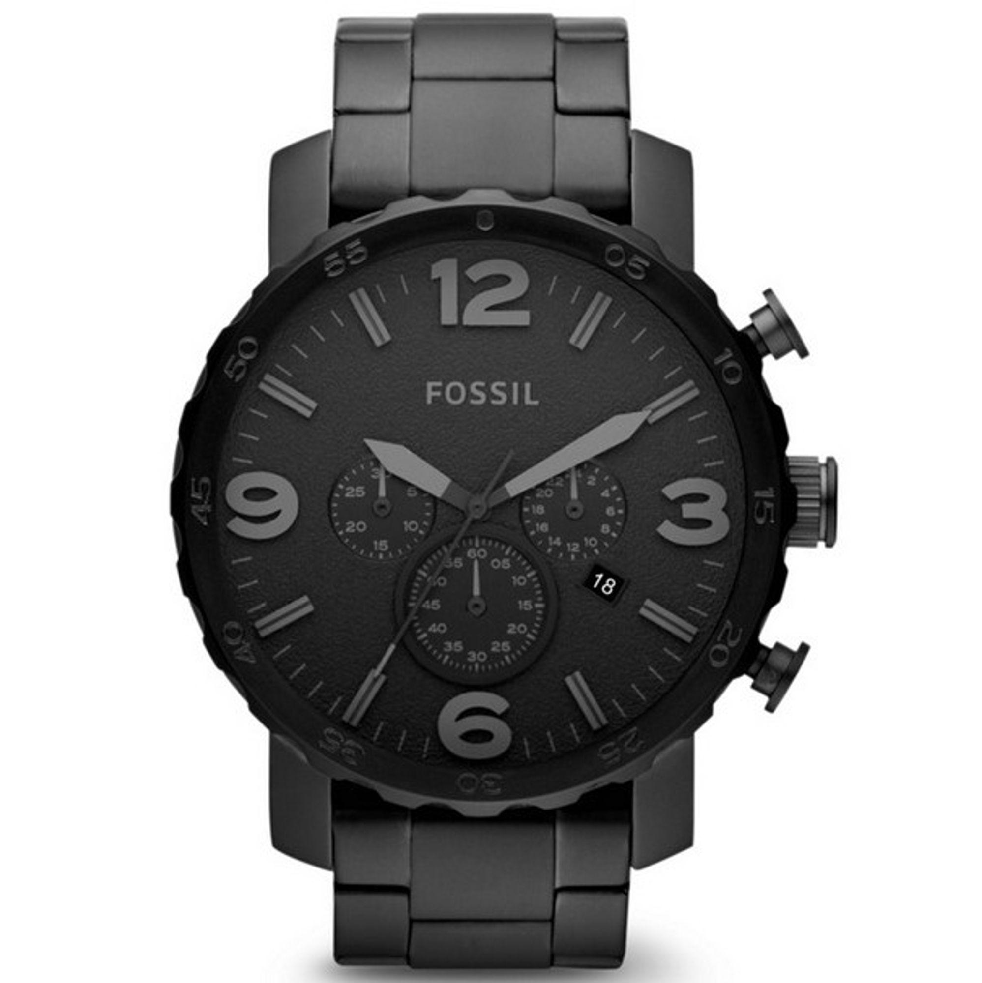 Fossil JR1401 Nate Chronograph Uhr Herrenuhr Edelstahl Datum schwarz