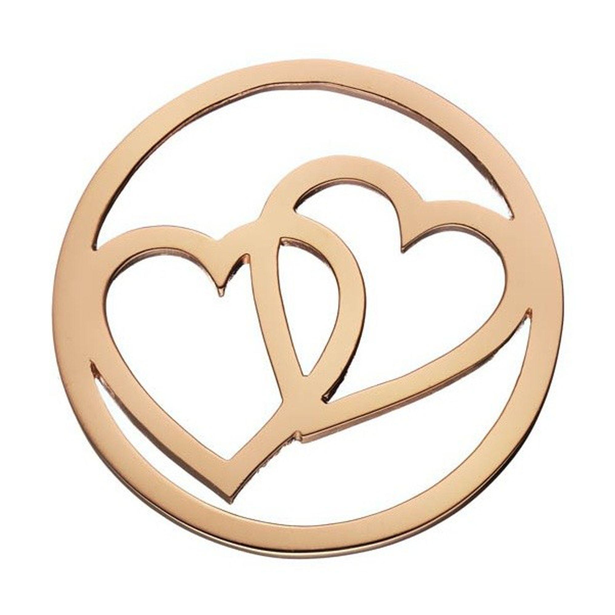 DAISY London HC1004 Münze Platte Herz Double Heart Halo rosé