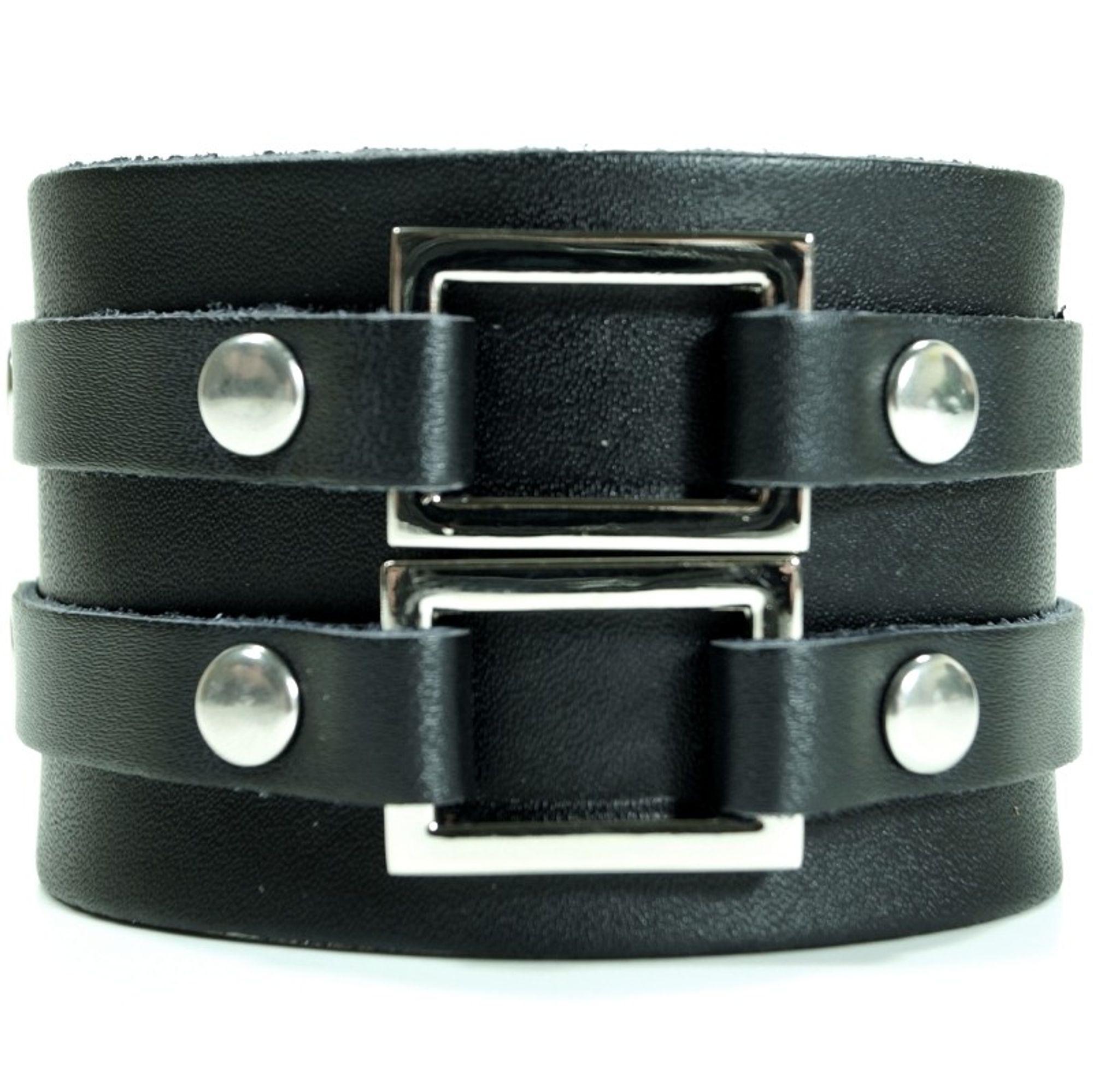 CJBB1912 Herren Armband Leder schwarz 21,5 cm