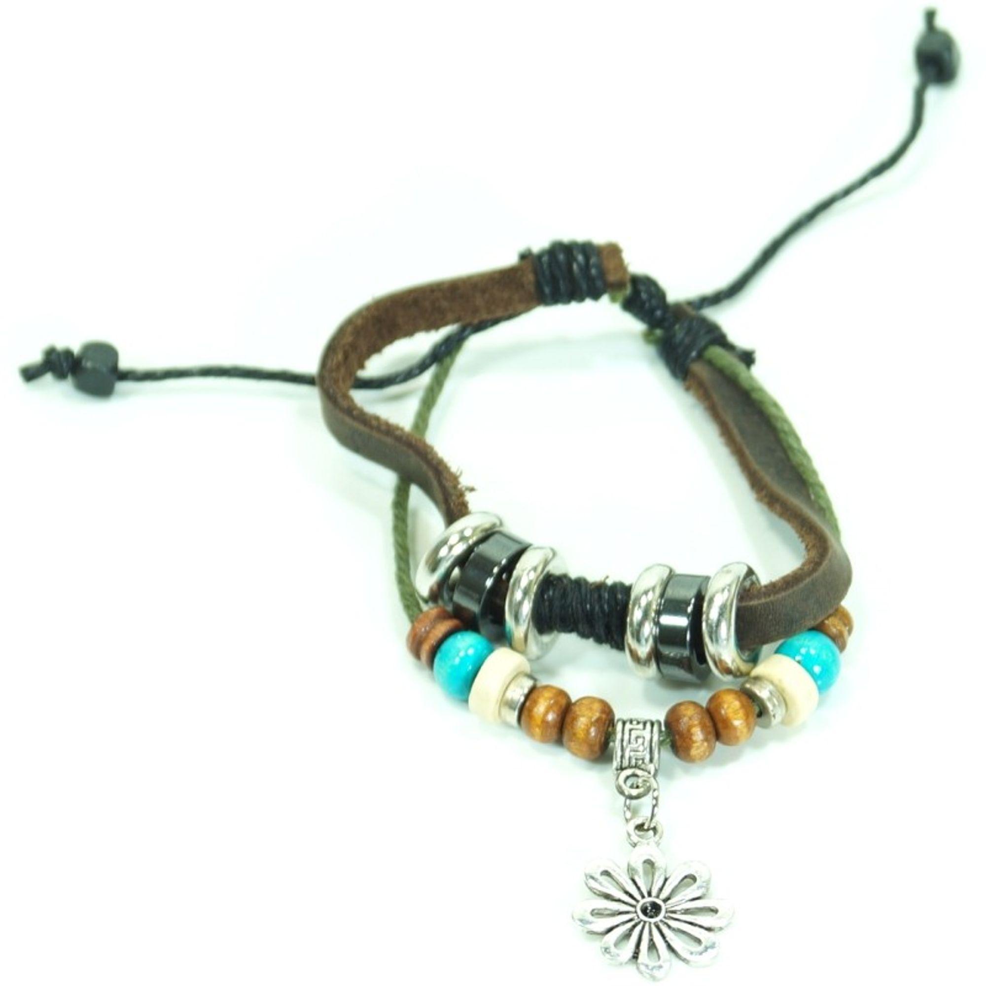 CJBB6149 Damen Armband Blume Leder braun
