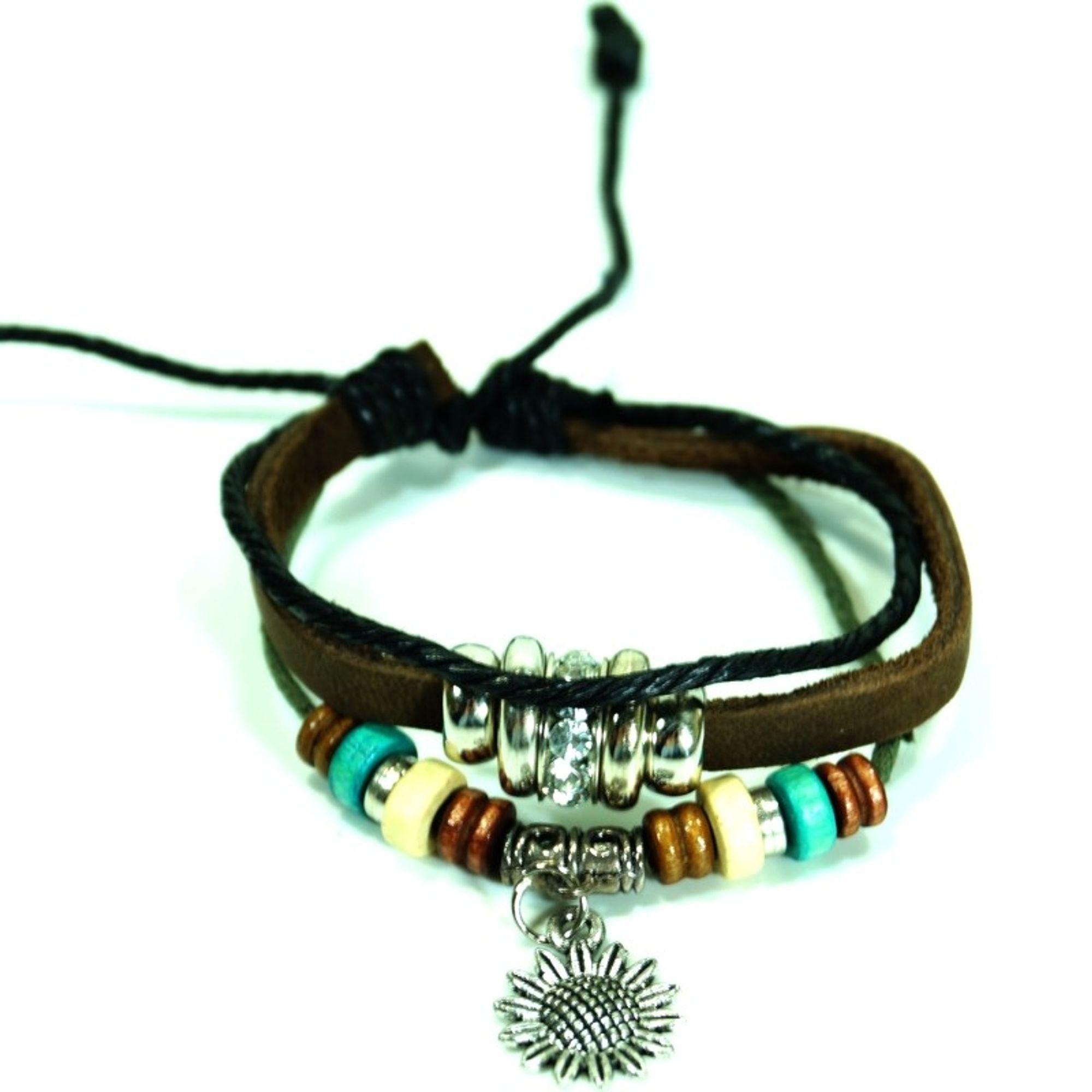 CJBB6147 Damen Armband Blume Leder braun