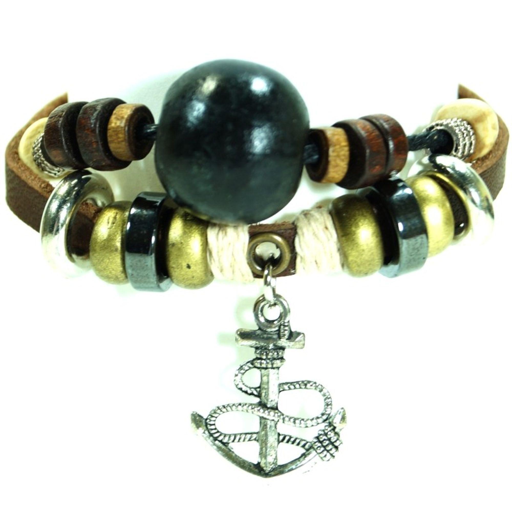CJBB6145 Damen Armband Anker Leder braun