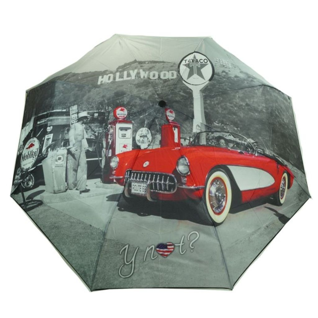 Y Not 55545 Super Mini City Hollywood Grau-Rot Taschenschirm