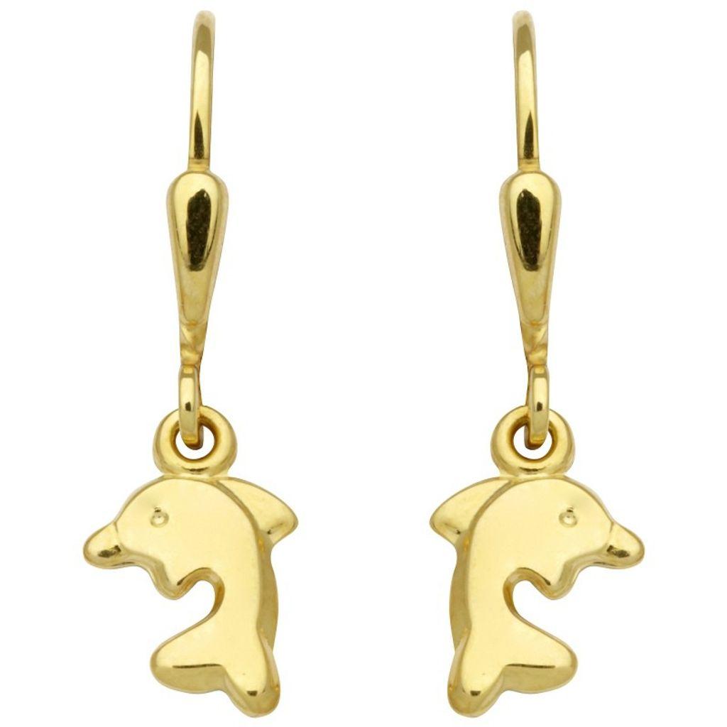 Basic Gold KI11 Mädchen Ohrringe Delfin 14 Karat (585) Gelbgold