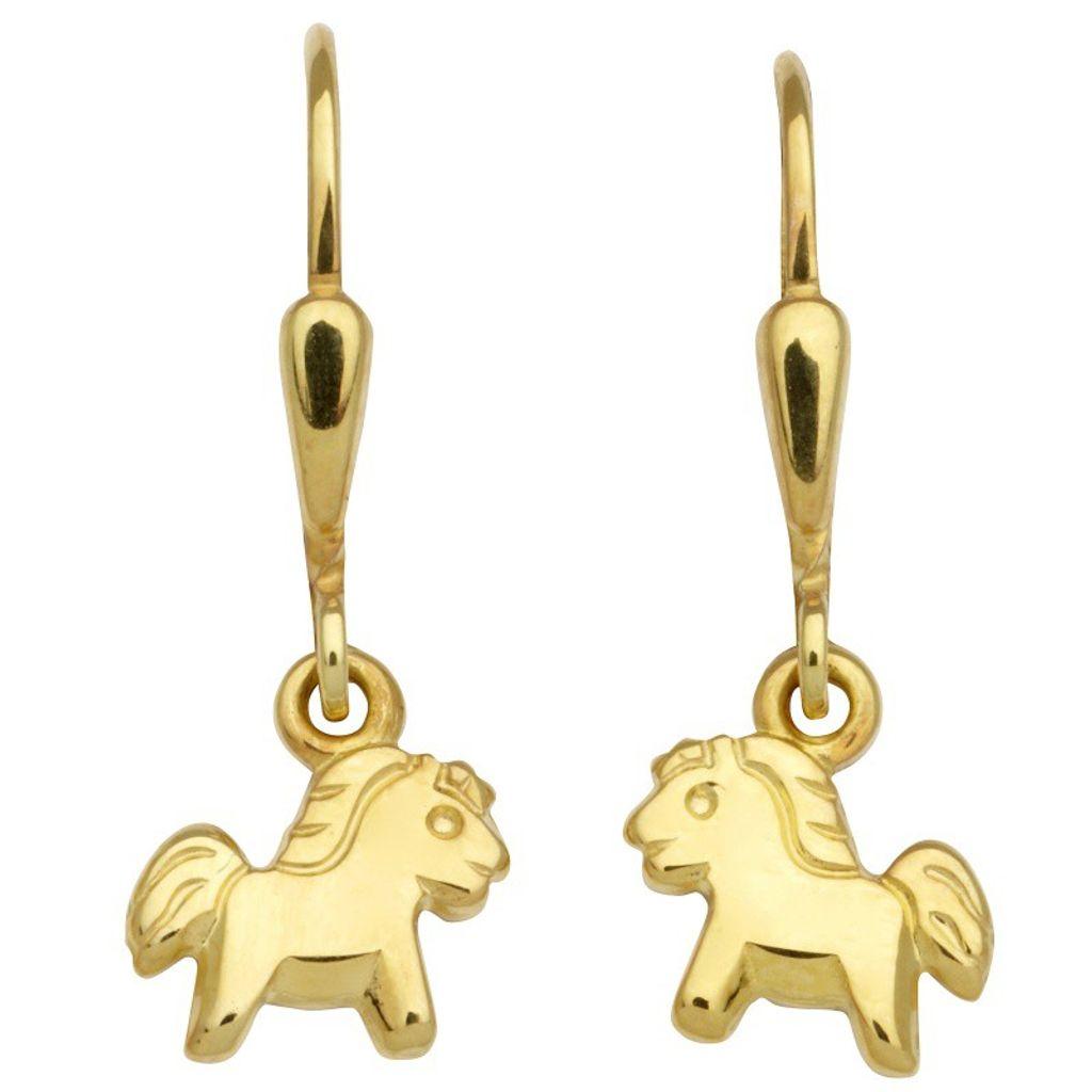 Basic Gold KI09 Mädchen Ohrringe Pferd 14 Karat (585) Gelbgold