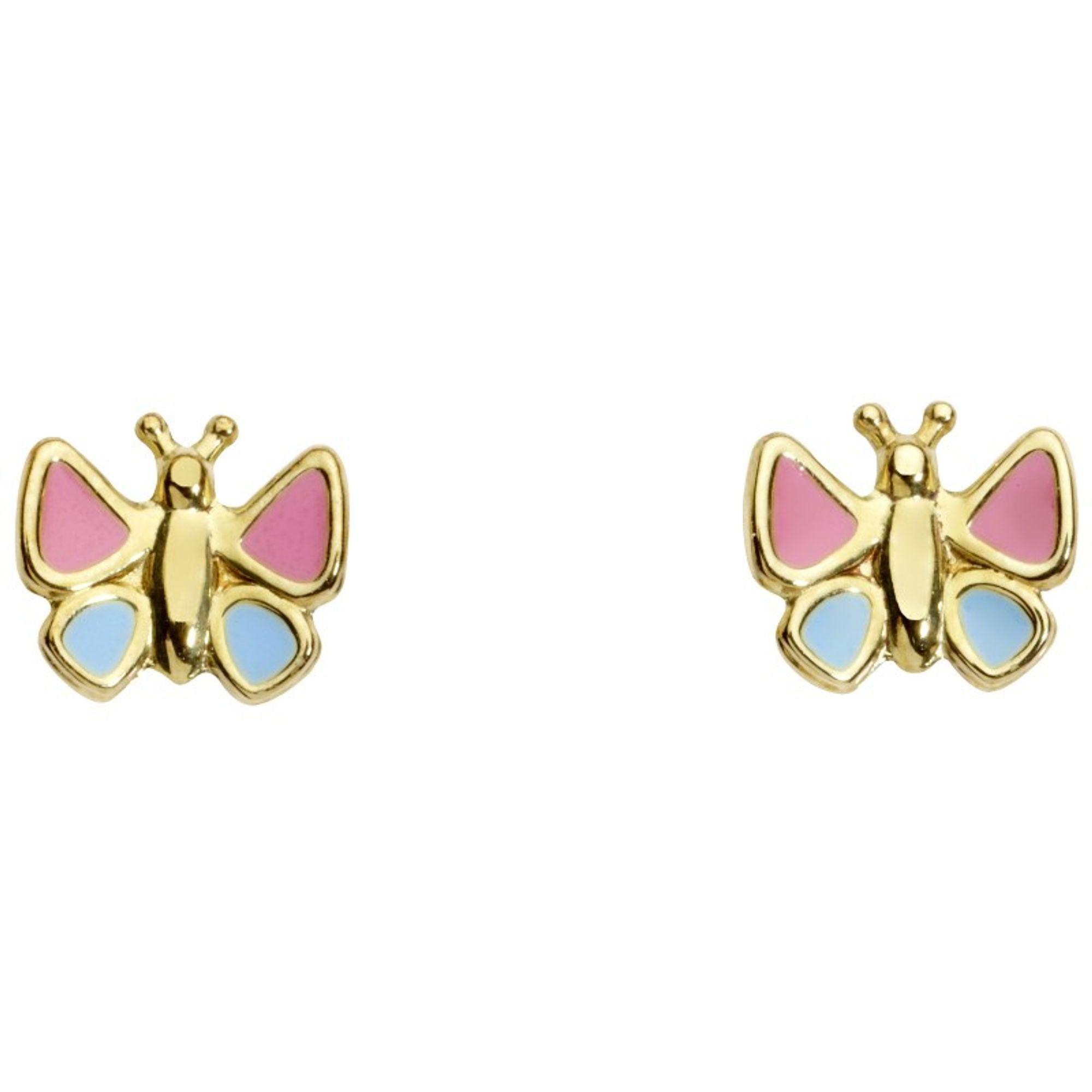 Basic Gold KI63 Mädchen Ohrstecker Schmetterling 14 Karat (585) gold