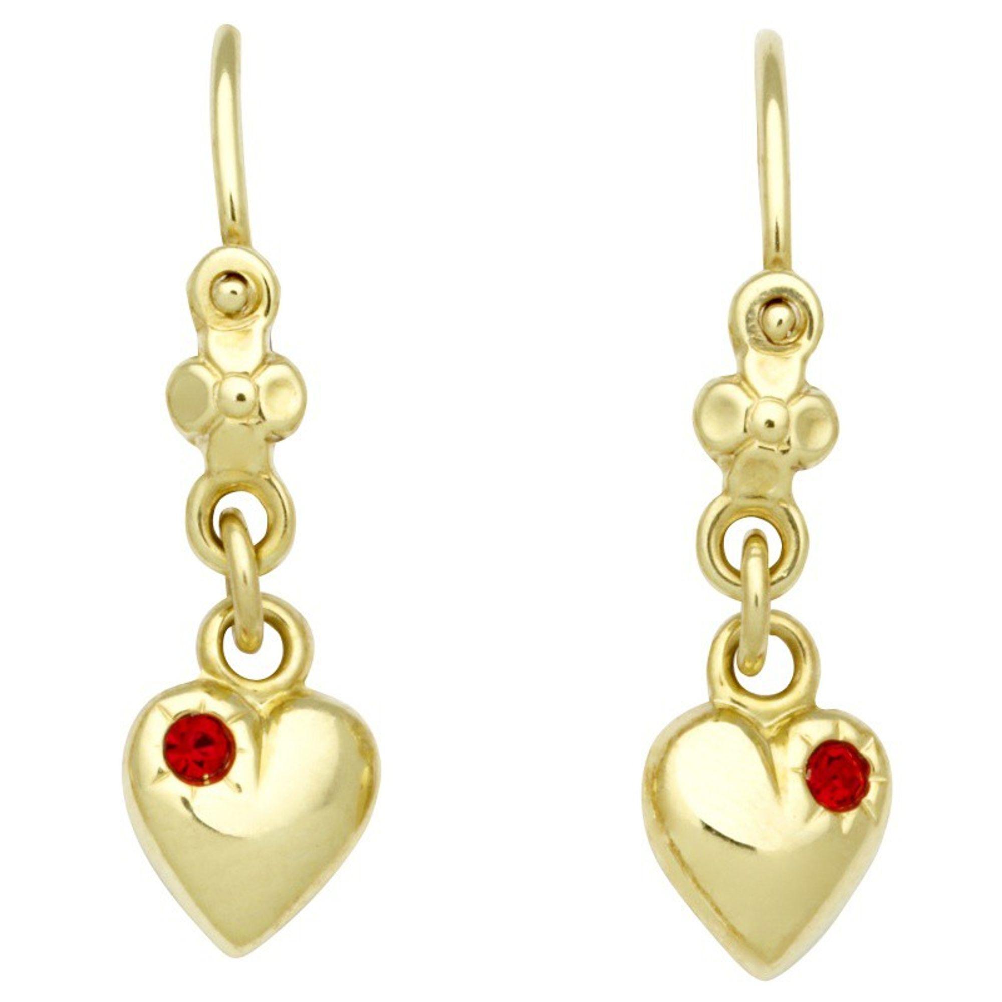 Basic Gold KI47 Mädchen Ohrringe Herz 14 Karat (585) Gelbgold Rot
