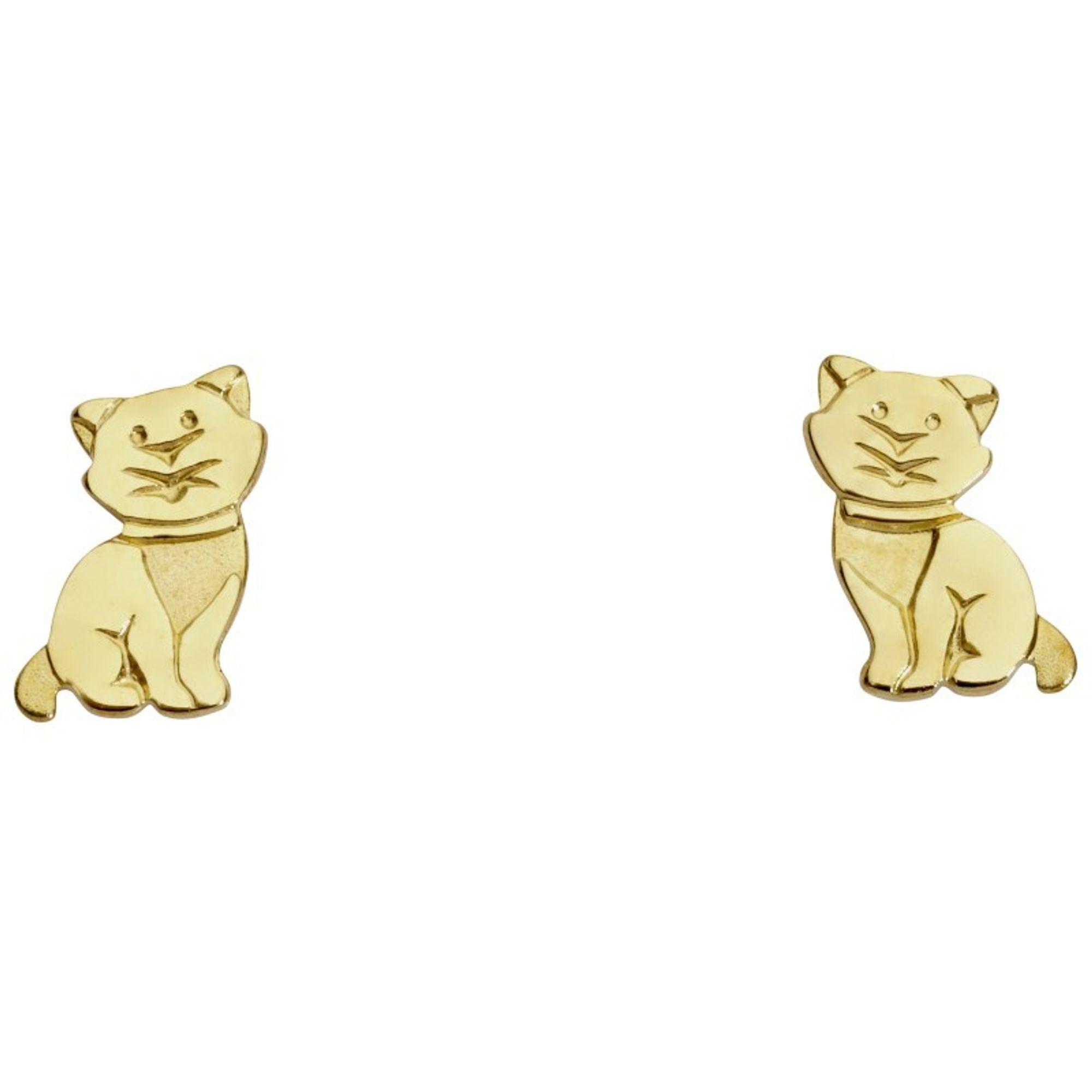 Basic Gold KI46 Mädchen Ohrstecker Katze 14 Karat (585) Gelbgold
