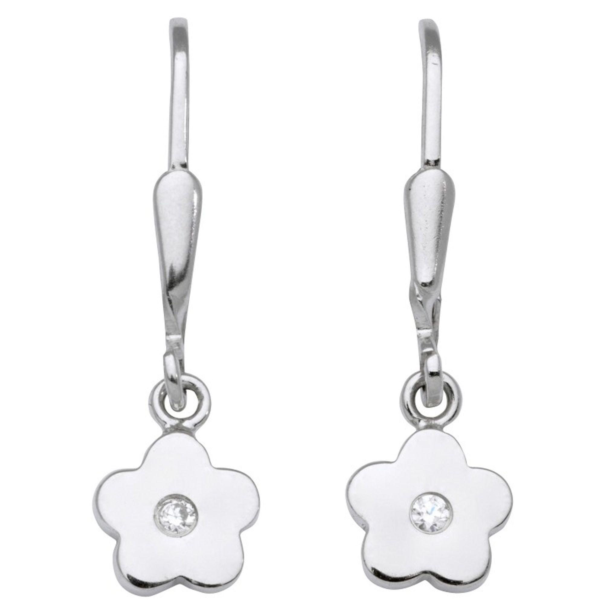 Basic Silber SK06 Kinder Ohrringe Blume Silber Weiß Zirkonia
