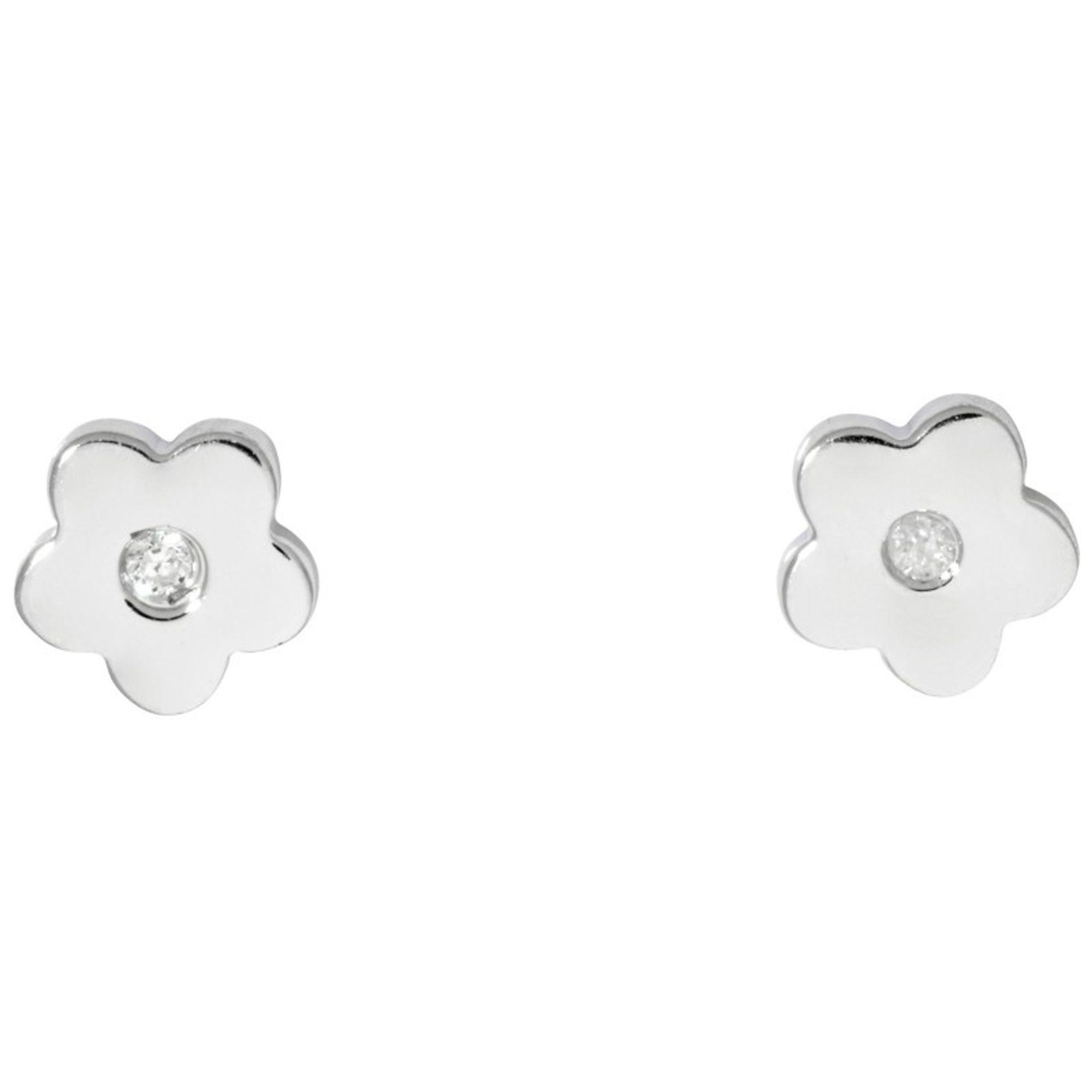 Basic Silber SK10 Kinder Ohrschmuck Blume Silber Weiß Zirkonia