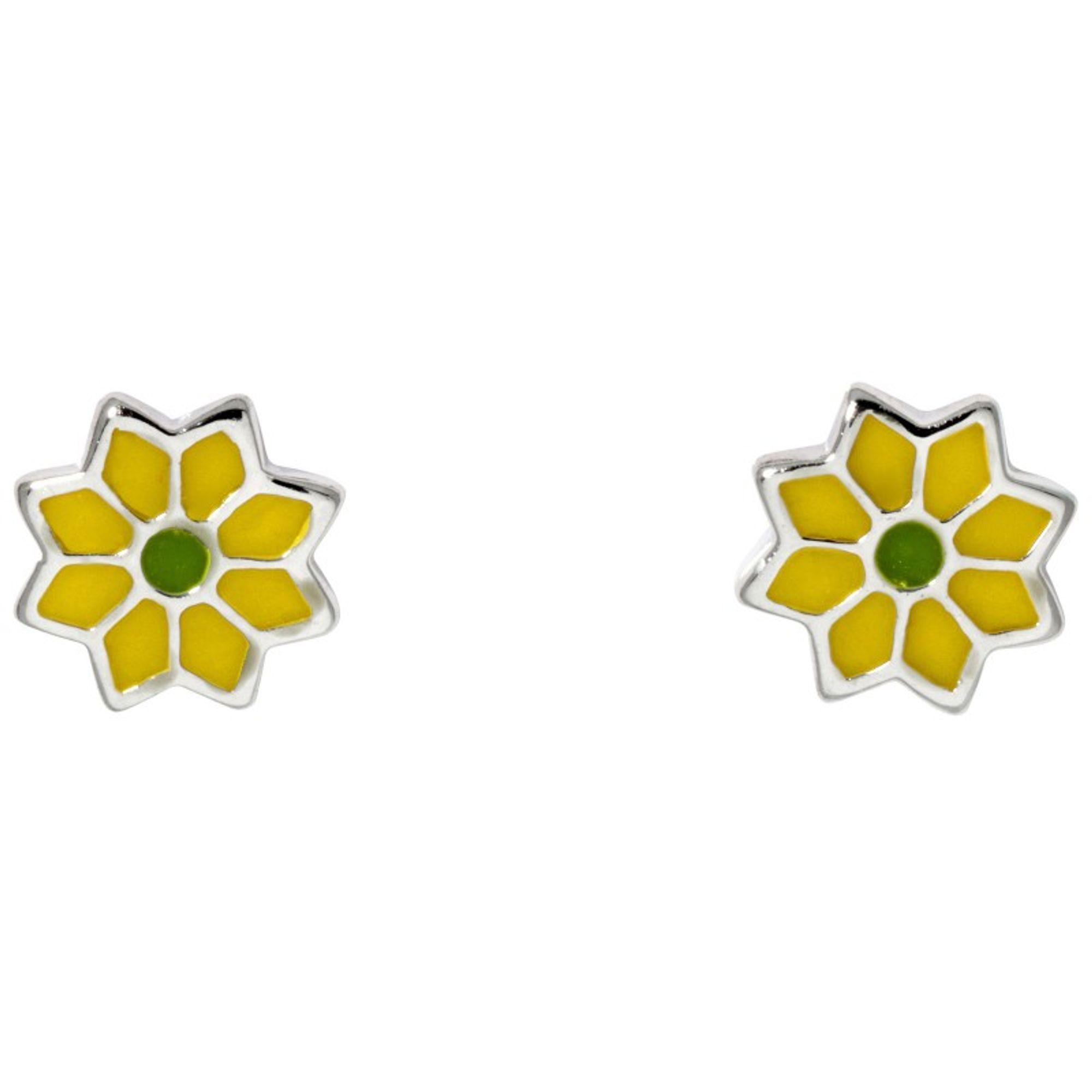 Basic Silber SK23 Kinder Ohrschmuck Blume Silber grün gelb