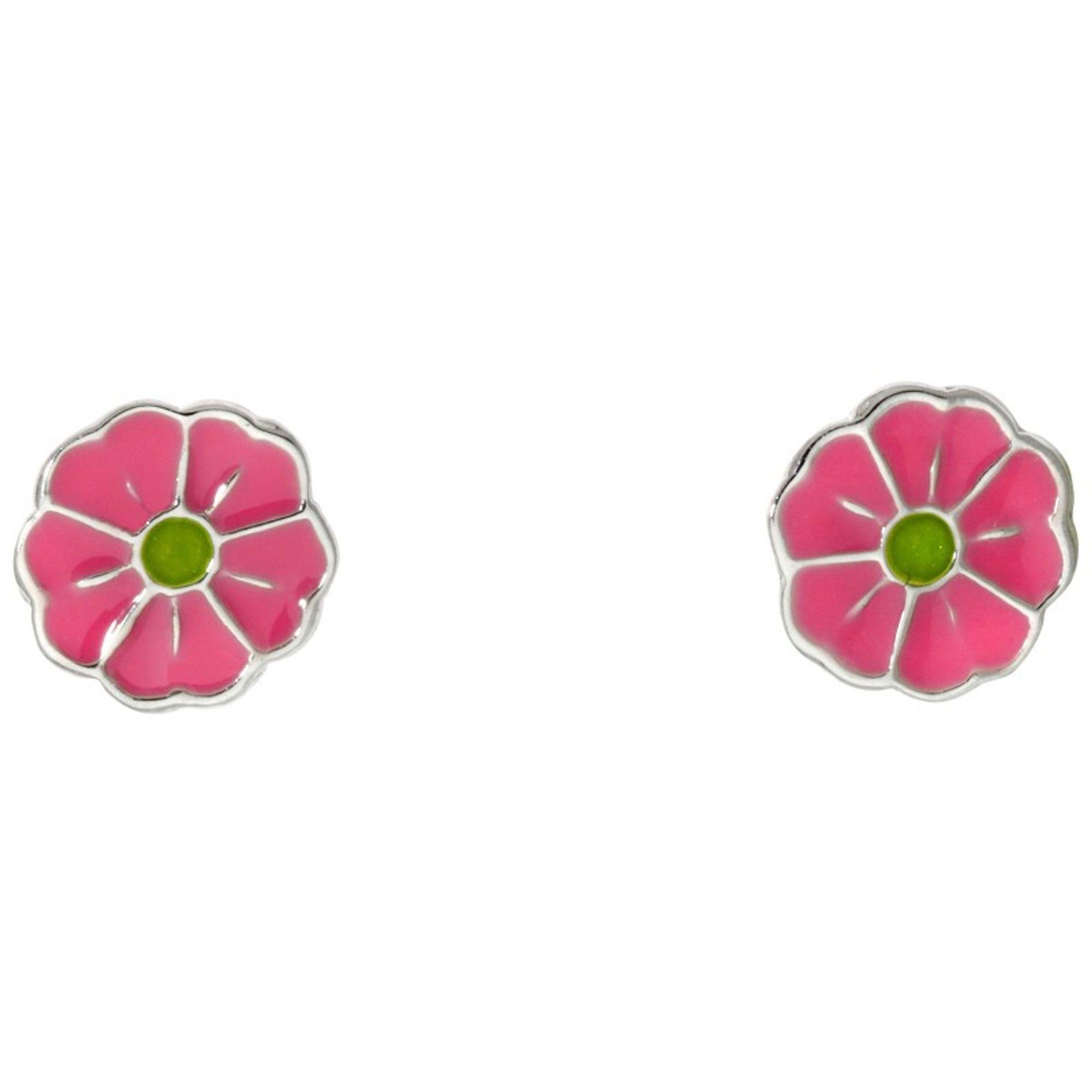 Basic Silber SK24 Kinder Ohrschmuck Blume Silber grün rosa