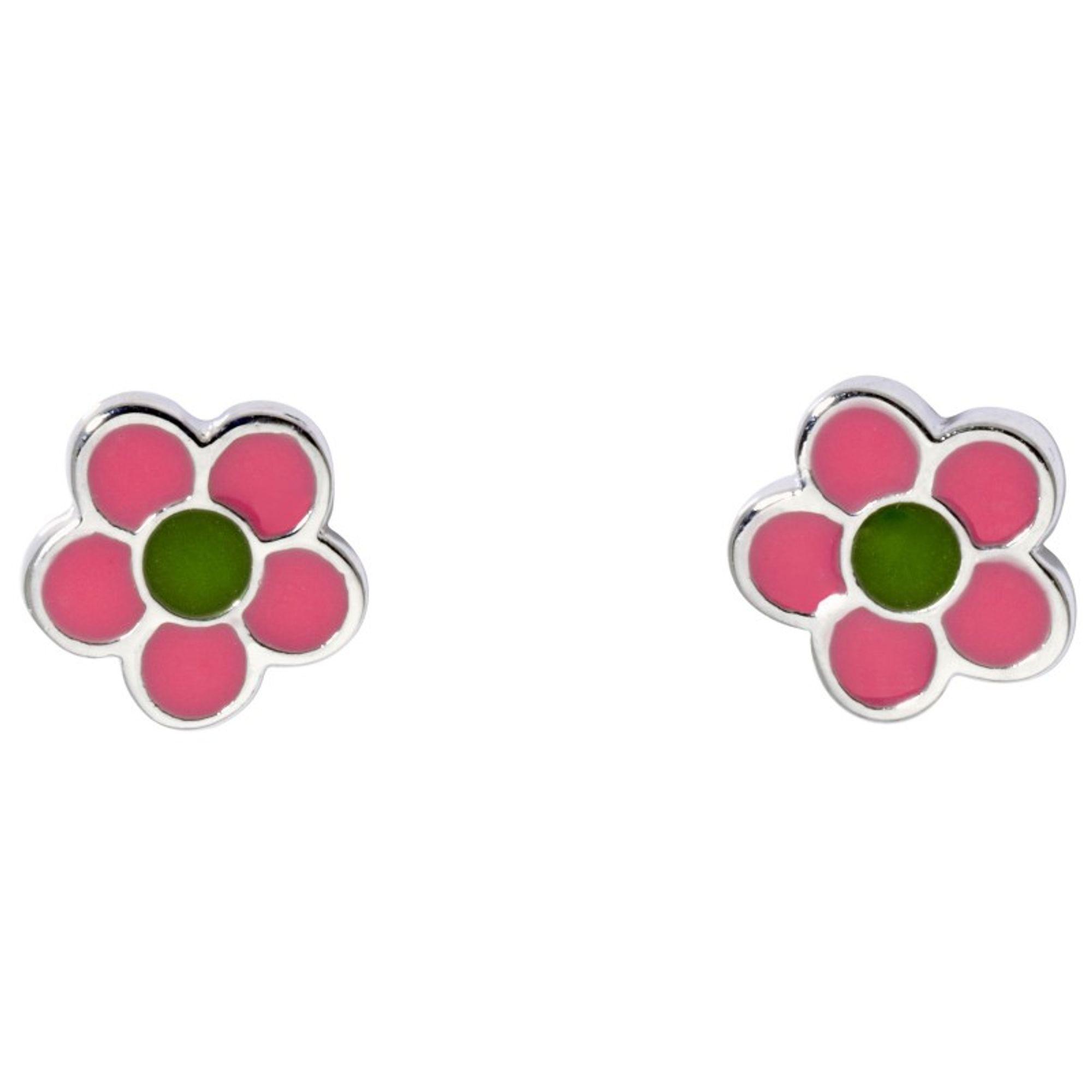 Basic Silber SK22 Kinder Ohrschmuck Blume rosa grün Silber