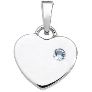 Basic Silber SK31 Kinder Anhänger Herz Silber Blau Zirkonia