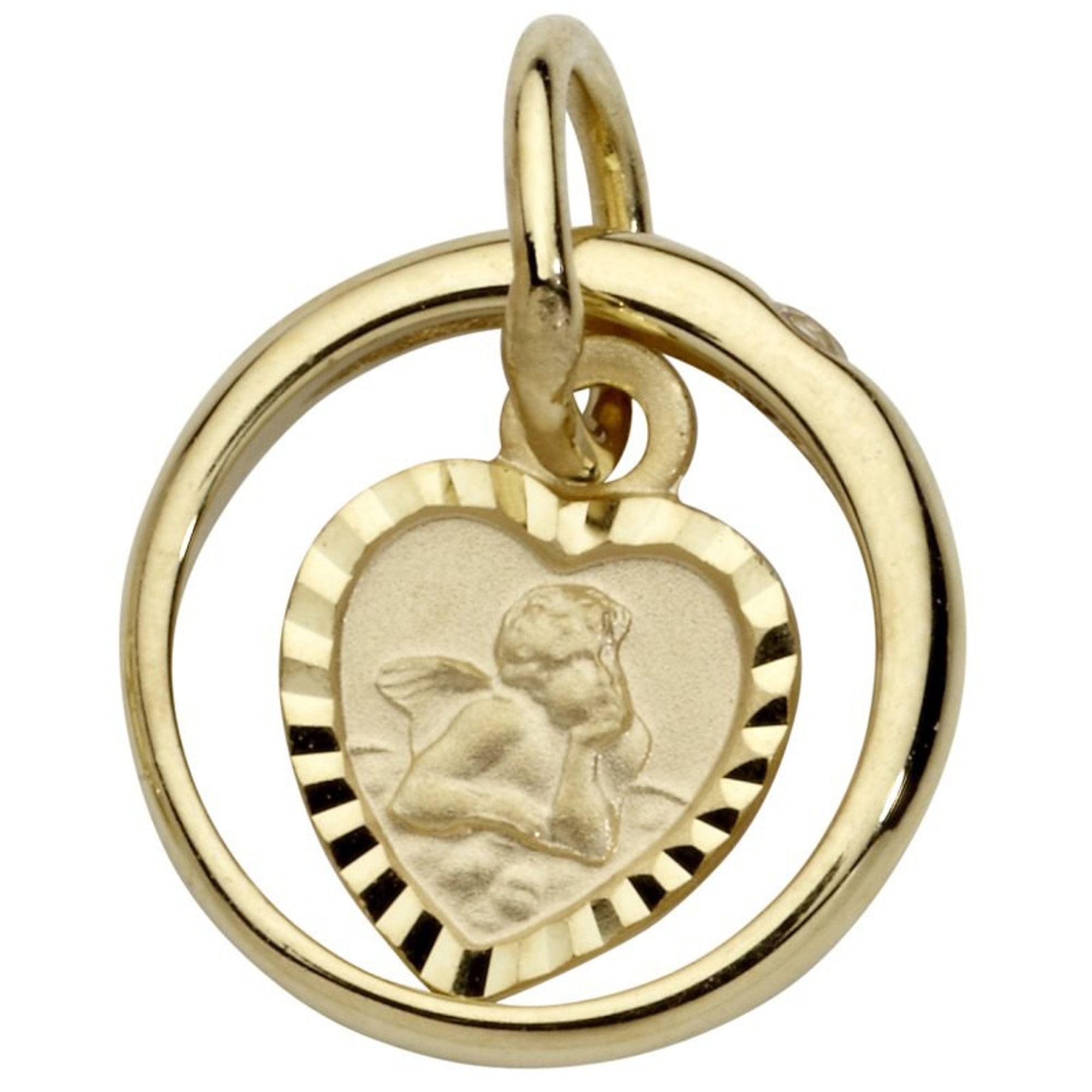 Basic Gold TG18 Kinder Anhänger Taufring mit Engel 14 Karat (585) Gold