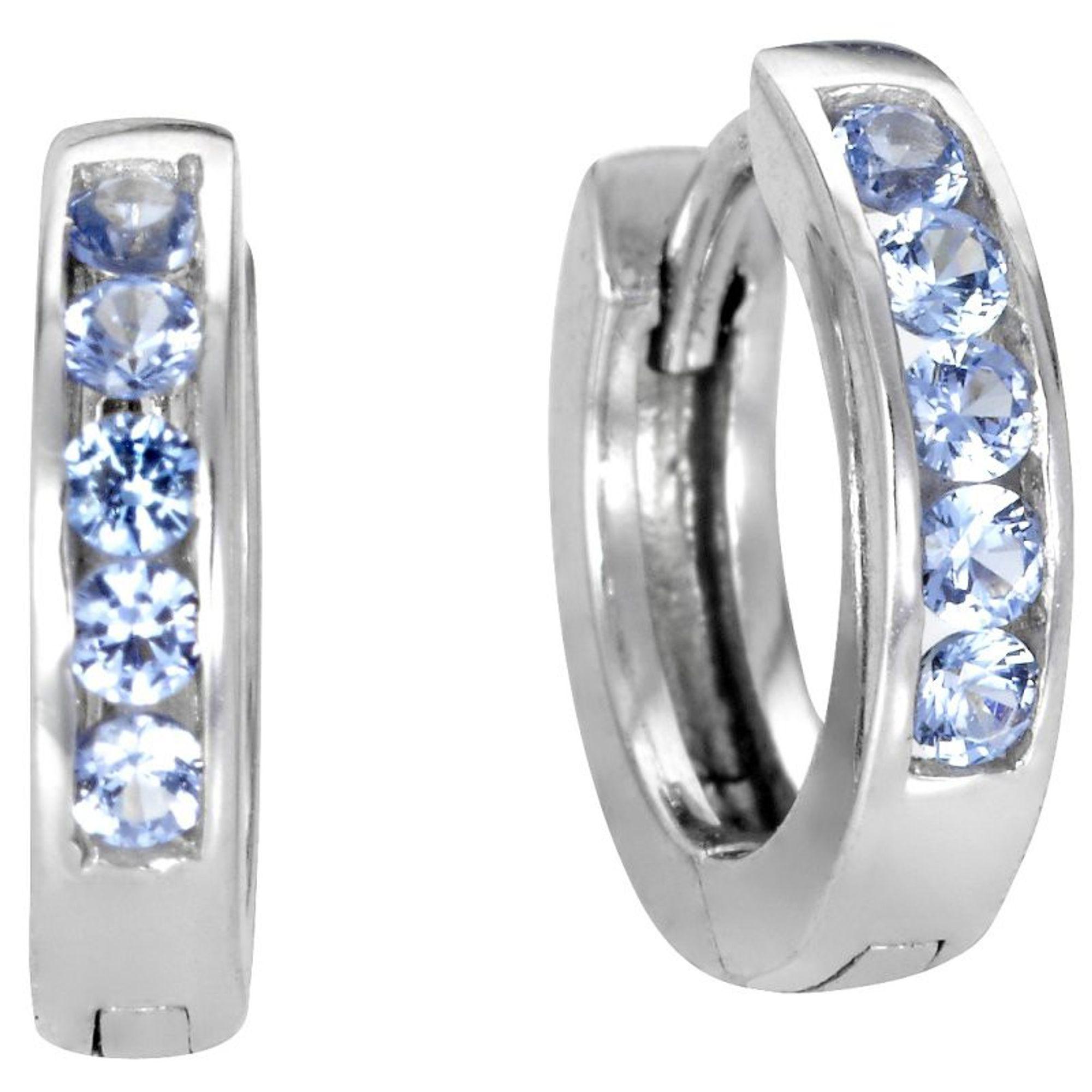 Basic Silber Damen SCR03 Creolen Silber Zirkonia Blau