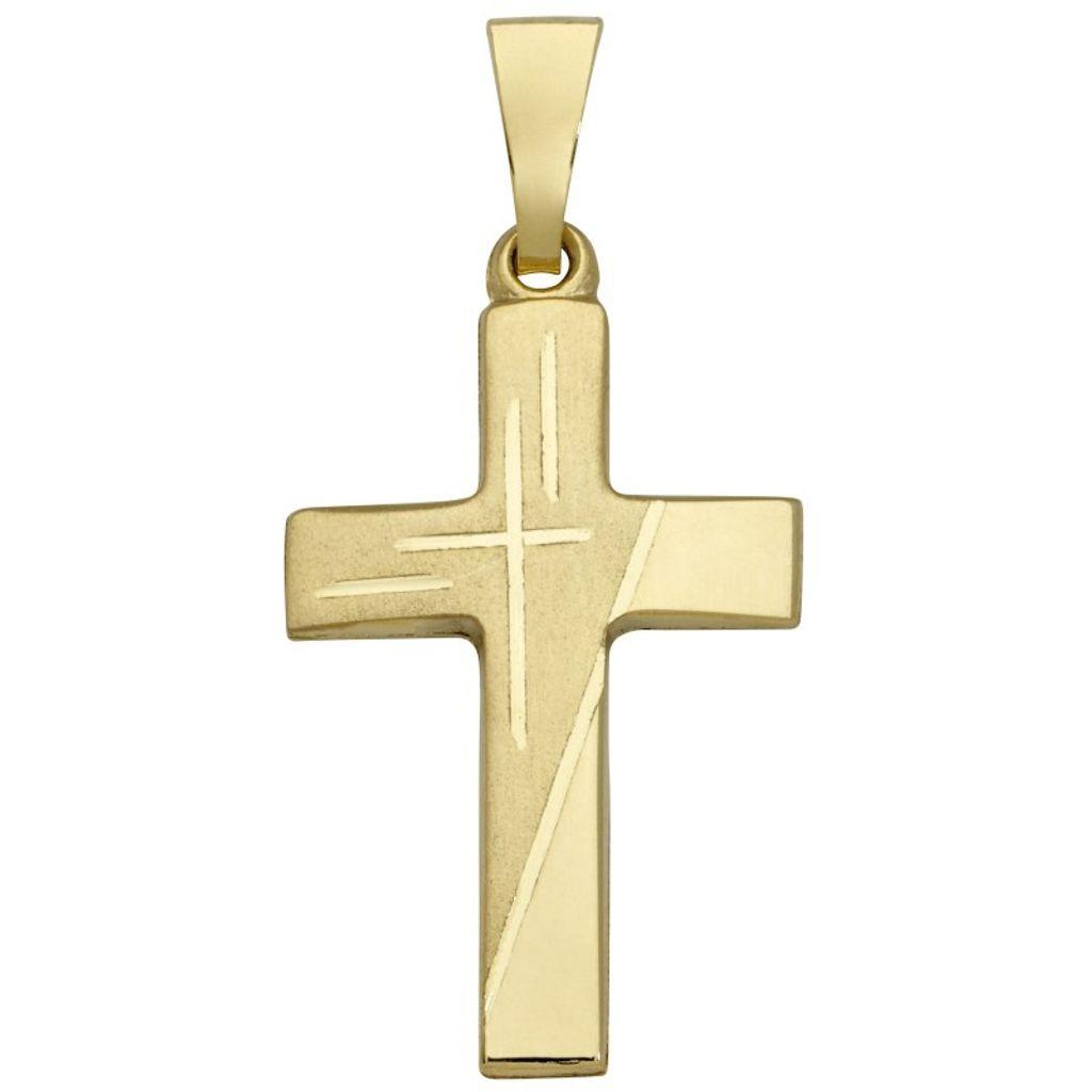Basic Gold K03 Damen Anhänger Kreuz 14 Karat (585) Gelbgold