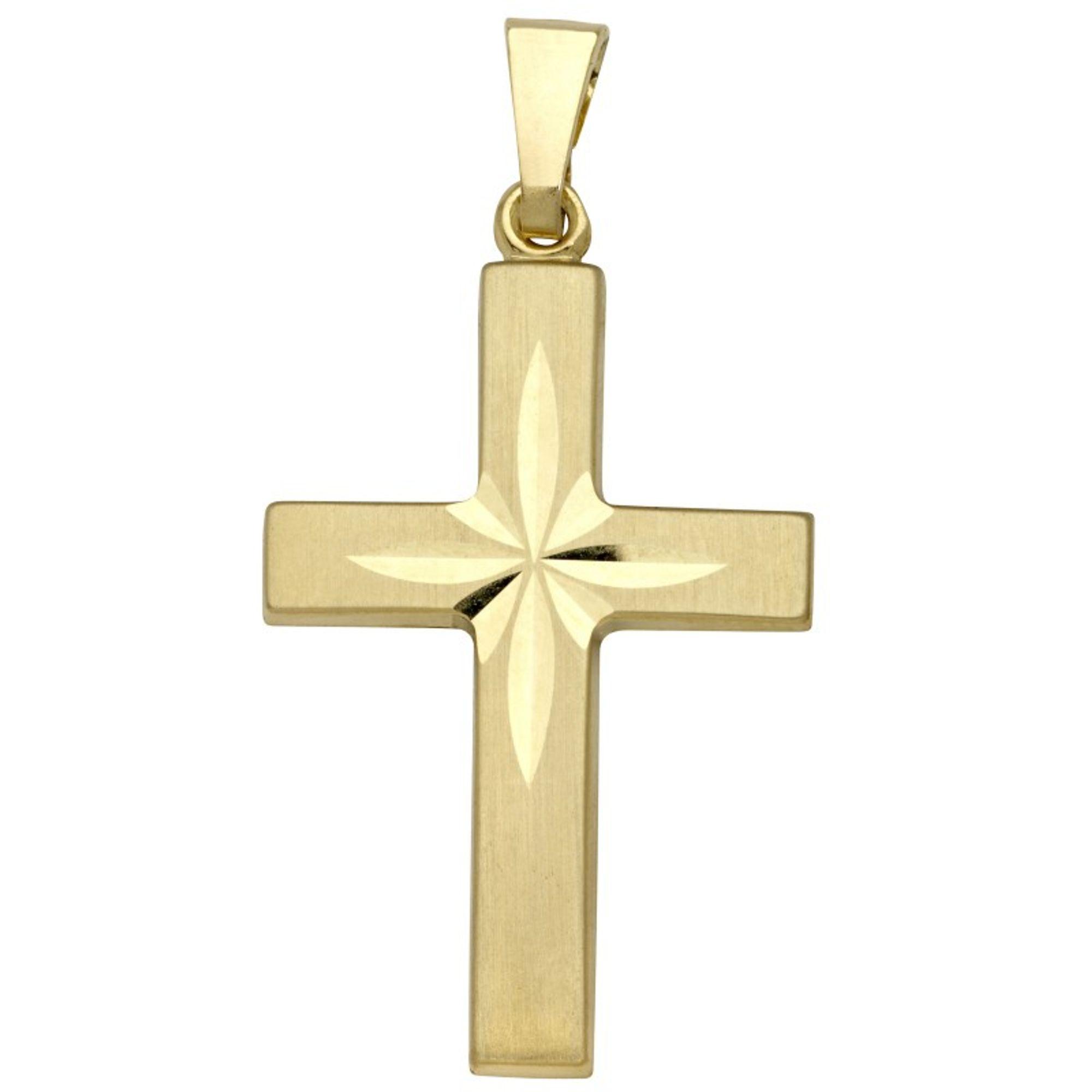 Basic Gold K01 Damen Anhänger Kreuz 14 Karat (585) Gelbgold