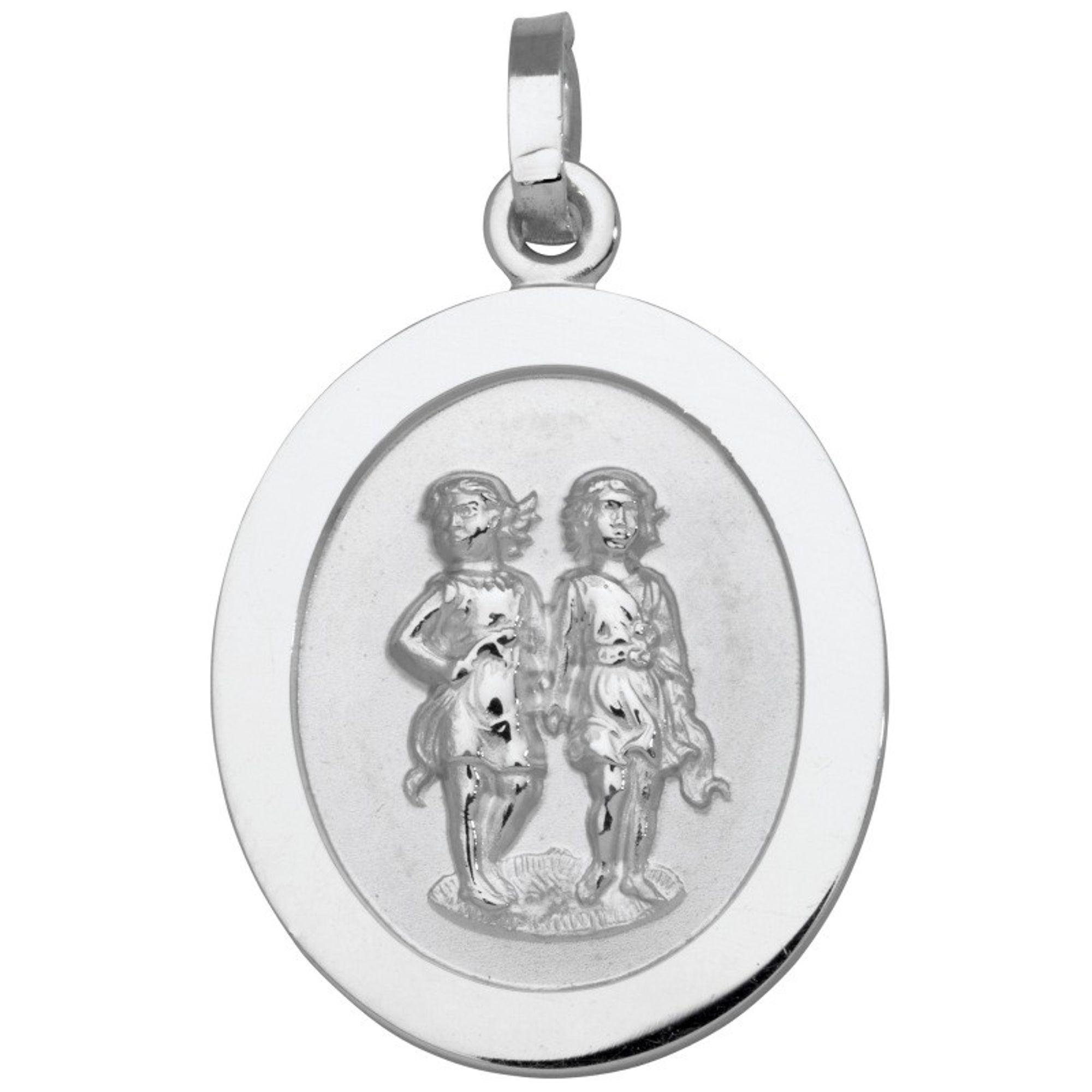 Basic Silber SZ106 Herren Anhänger Sternzeichen Zwillinge Silber