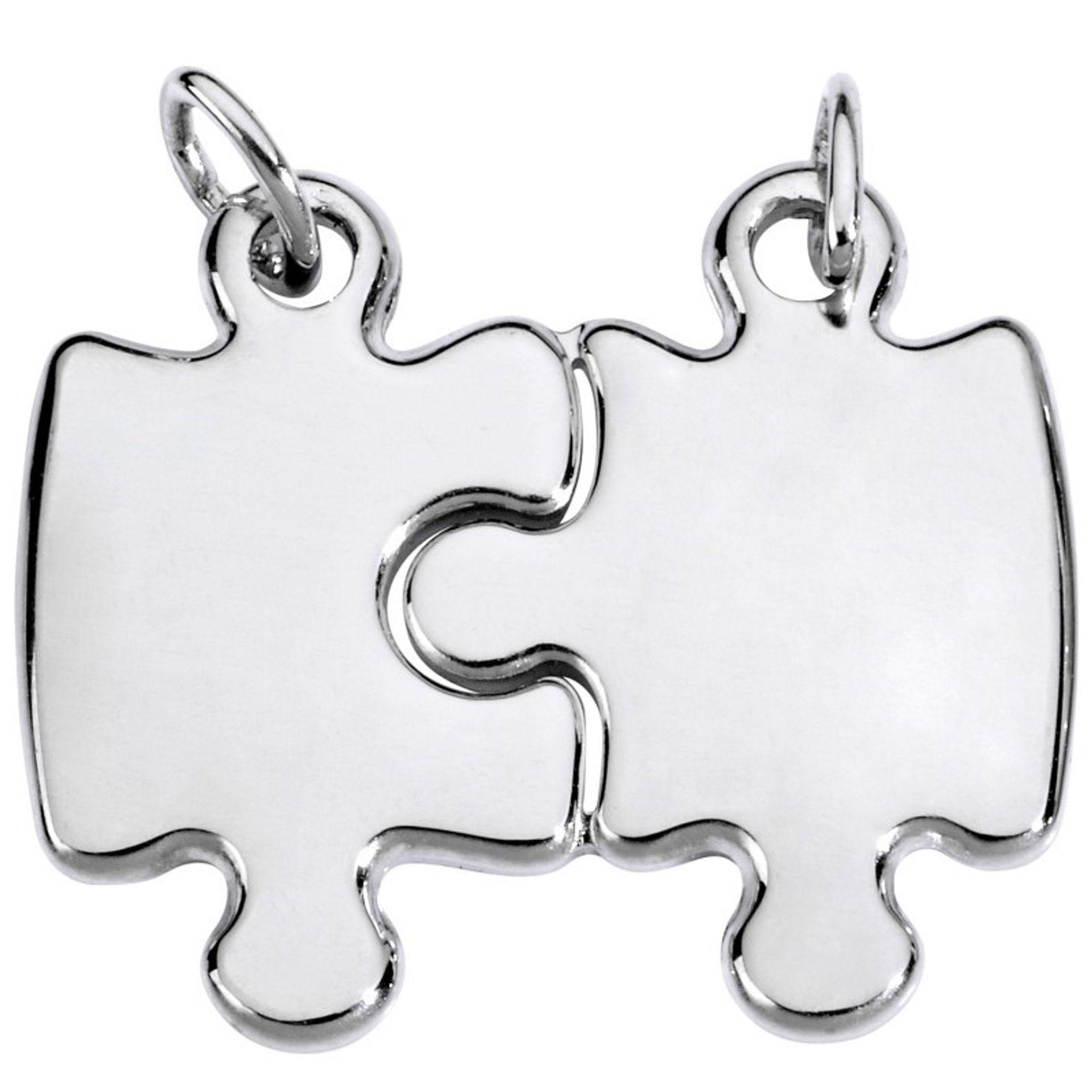 Basic Silber SL06 Anhänger Partneranhänger Puzzle Silber