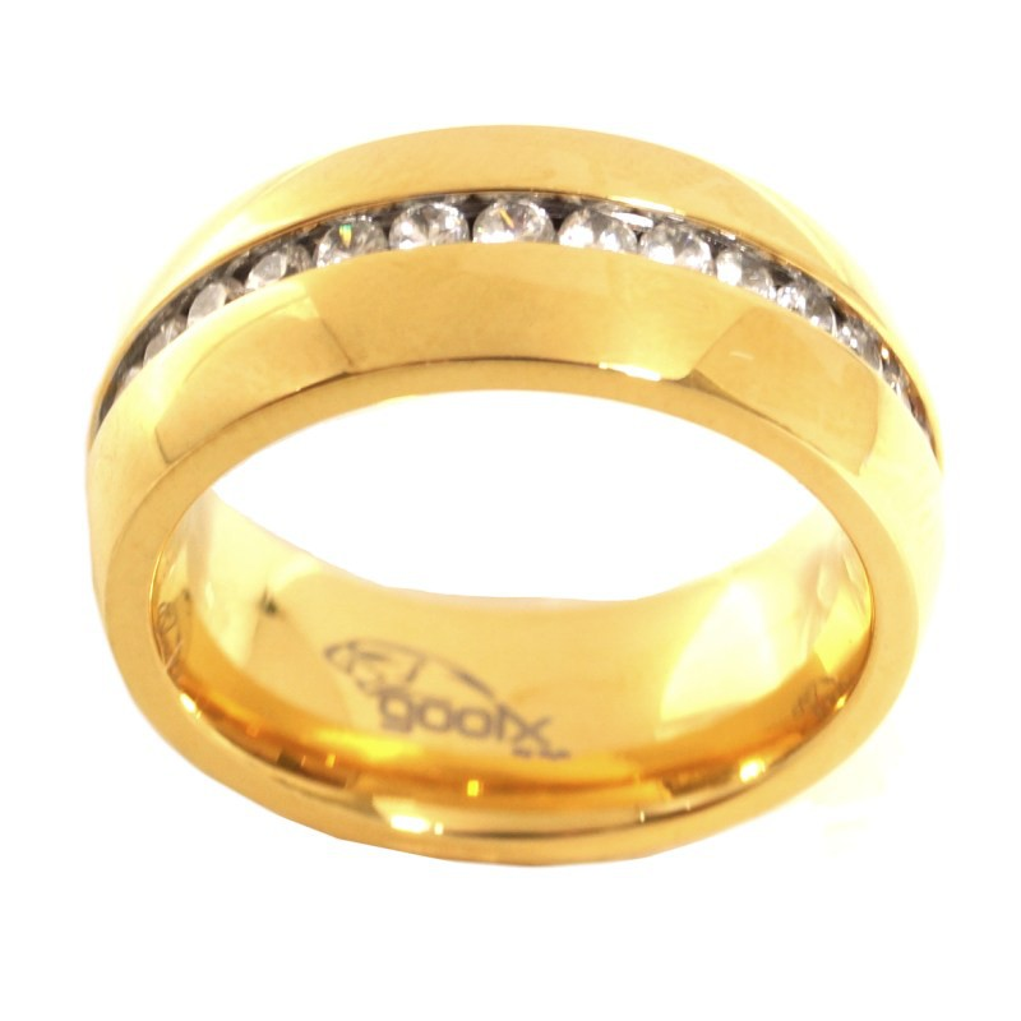GOOIX 444-2132 Damen Ring Edelstahl gold Zirkonia Weiß 54 (17.2)