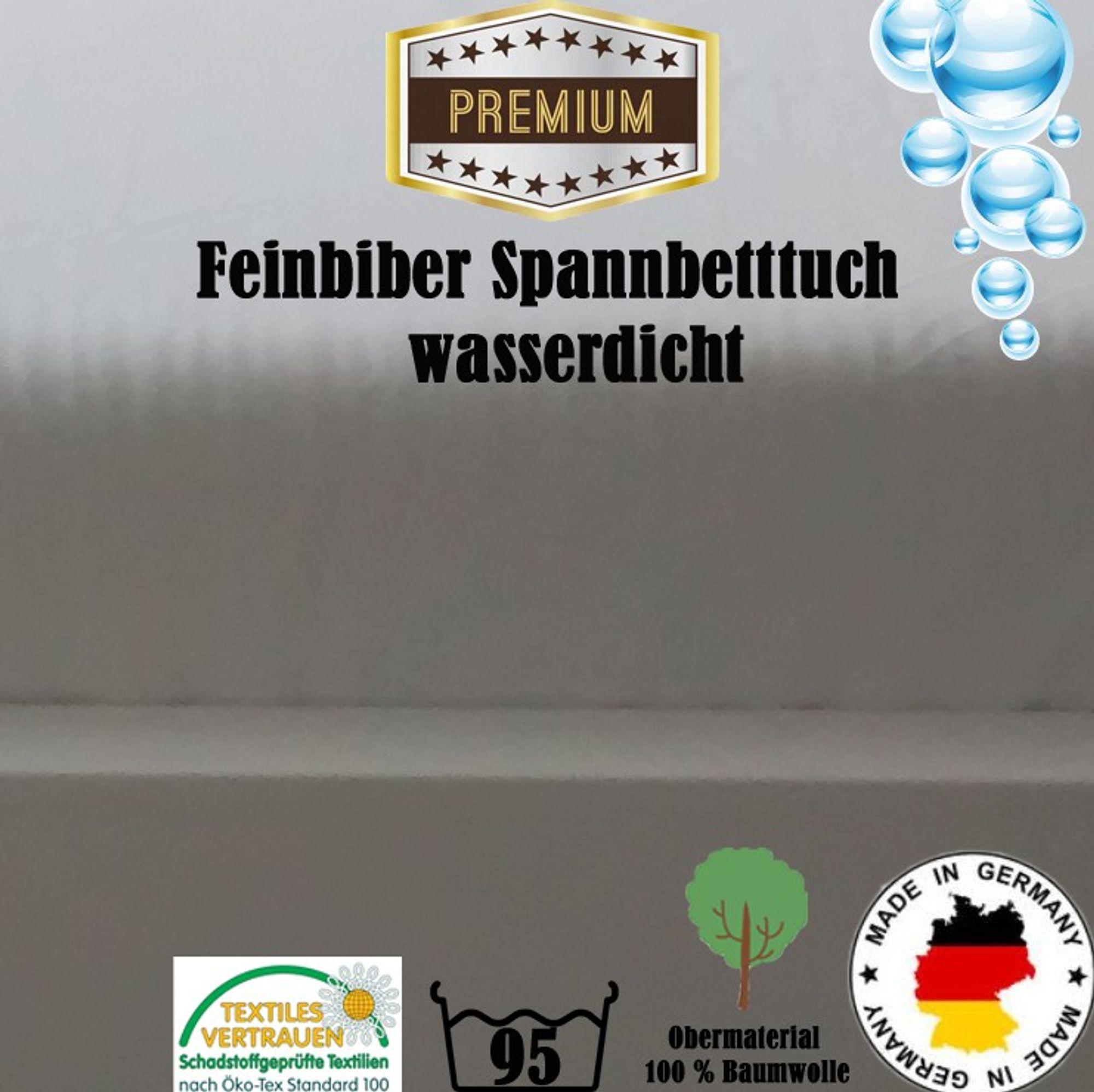 Feinbiber Spannbettlaken Matratzenschoner Wasserdicht  160x200