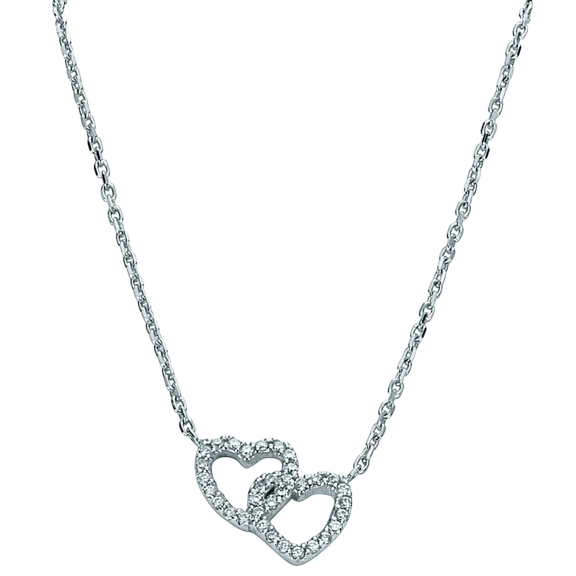 Basic Silber 11.EX106 Damen Collier Herz Silber Zirkonia weiß 42,5 cm