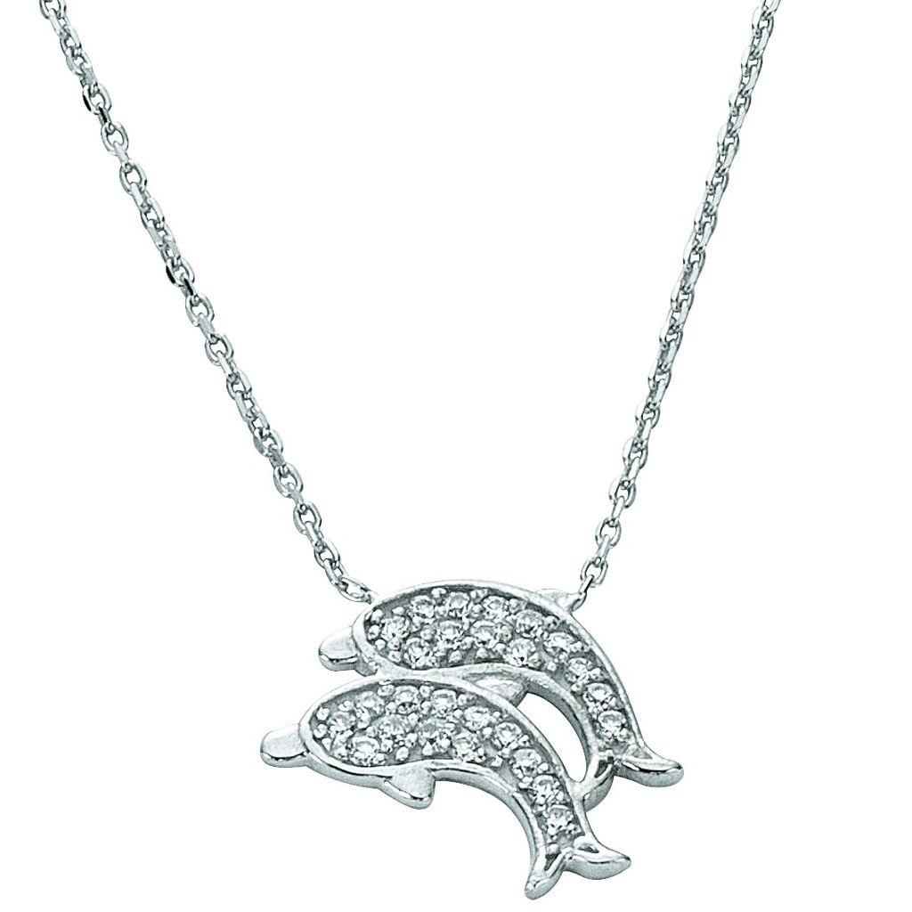 Basic Silber 11.EX105 Damen Collier Delfine Silber weiß 42,5 cm
