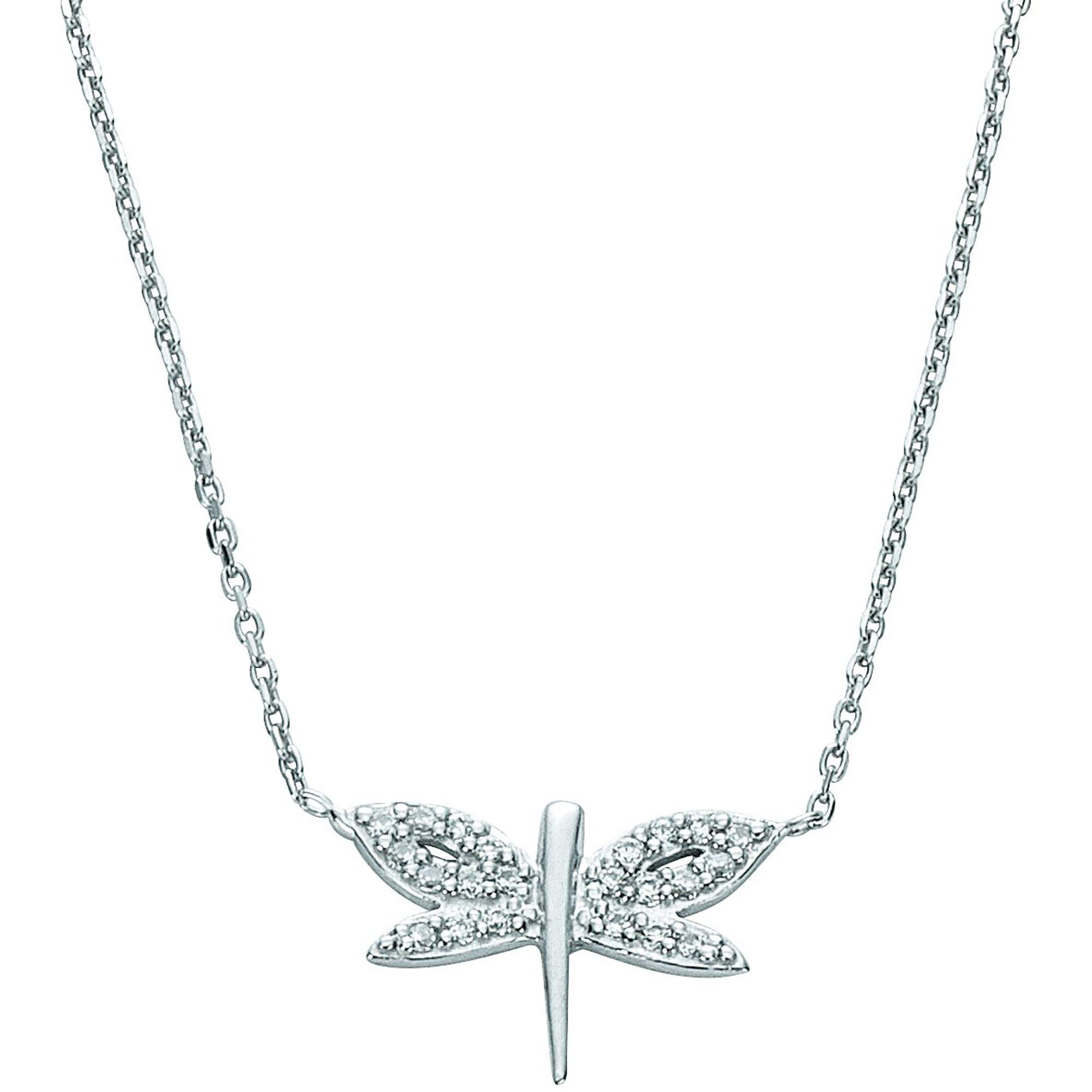 Basic Silber 11.EX104 Damen Collier Libelle Silber weiß 43,5 cm