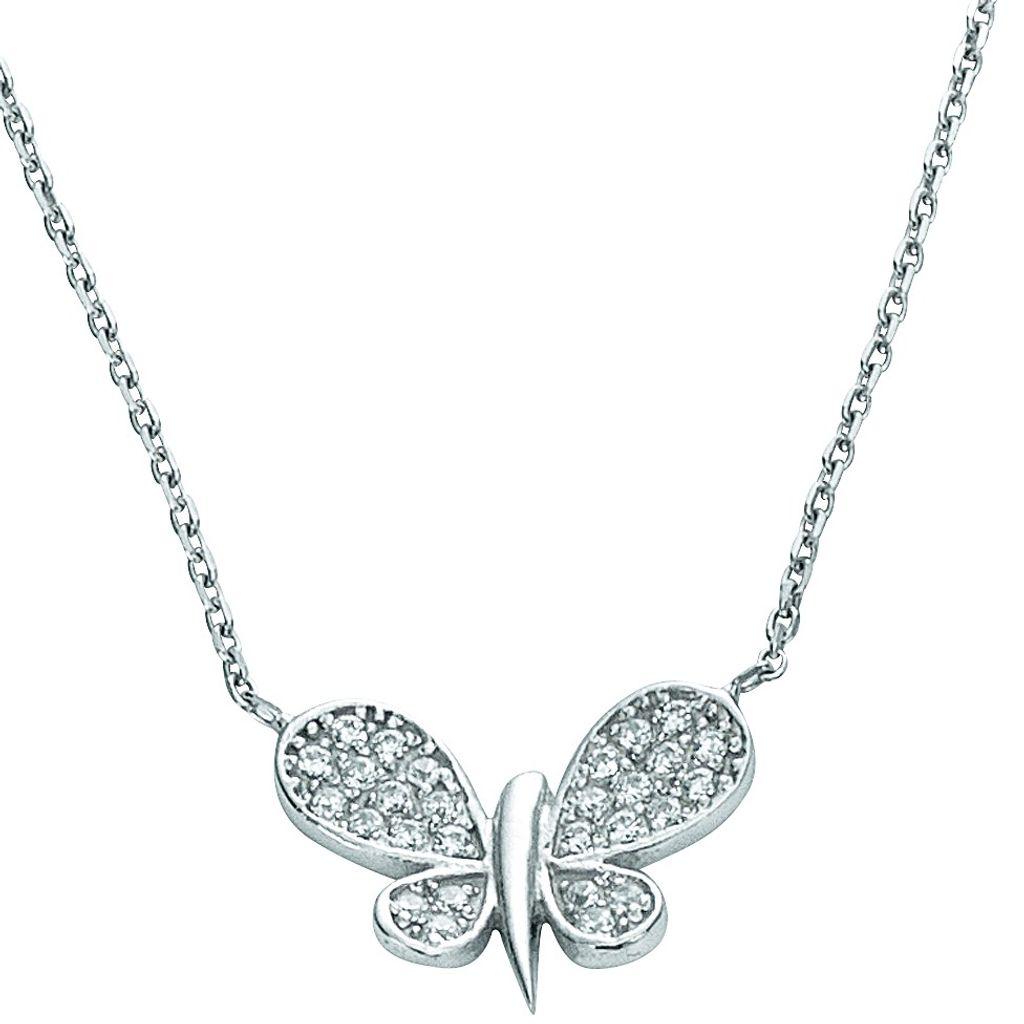 Basic Silber 11.EX102 Damen Collier Schmetterling Silber 42,5 cm