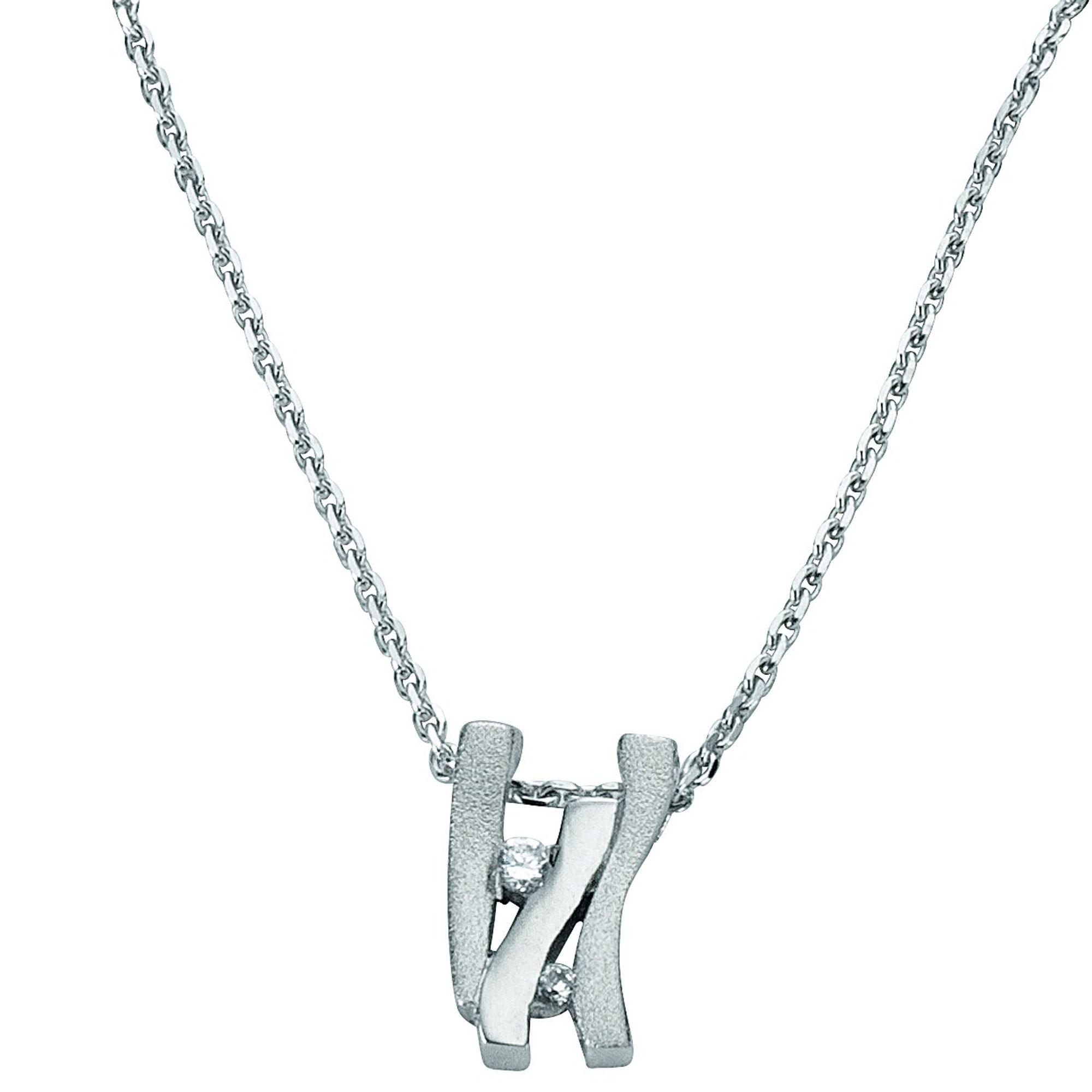 Basic Silber 21.EX573 Damen Collier Silber Zirkonia weiß 42 cm