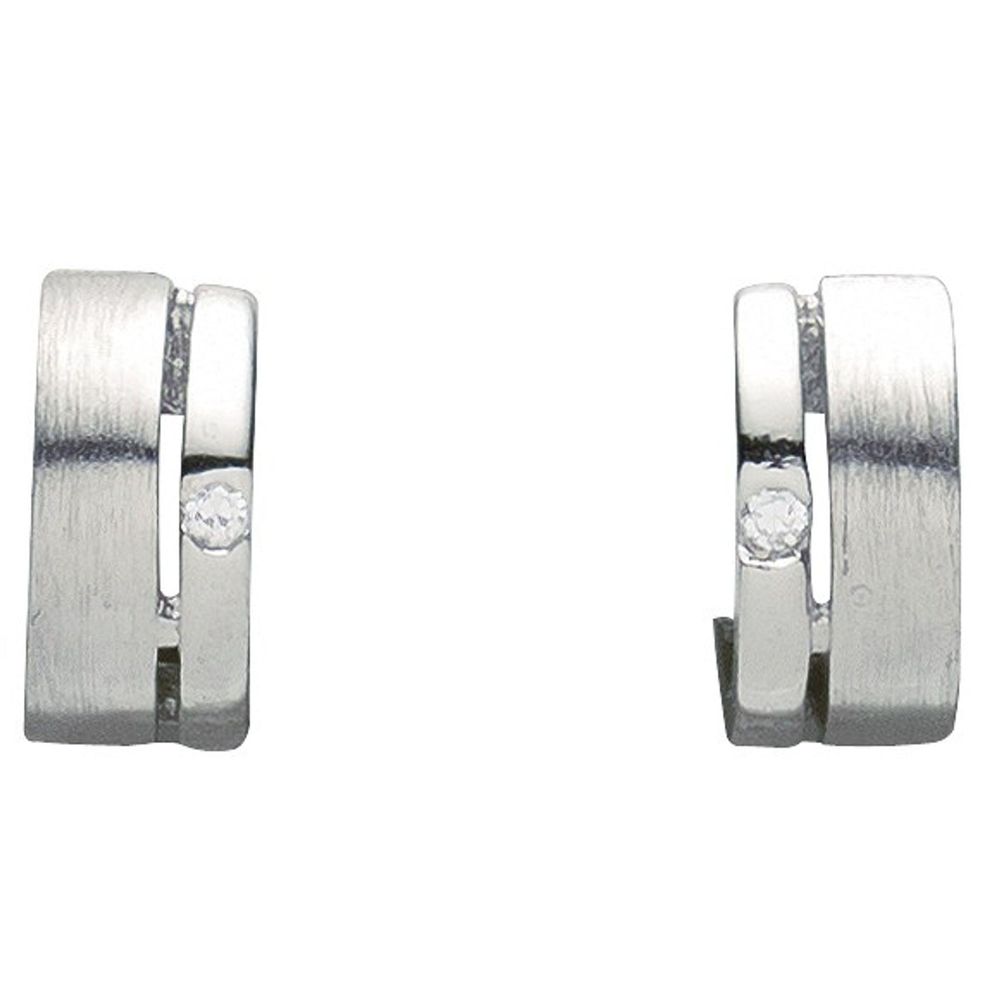 Basic Silber 05.2038 Damen Creolen Silber Zirkonia weiß