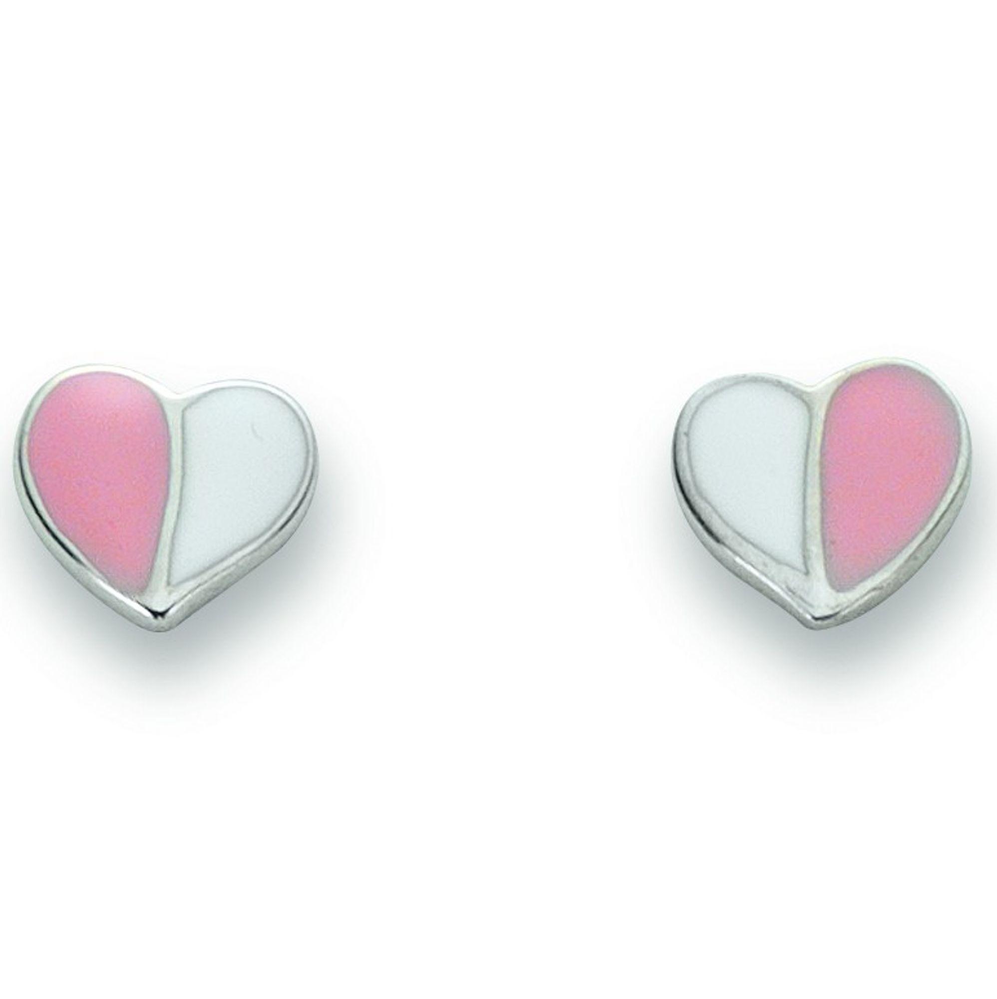 Basic Silber 01.KS101 Mädchen Ohrstecker Herz Silber rosa weiß