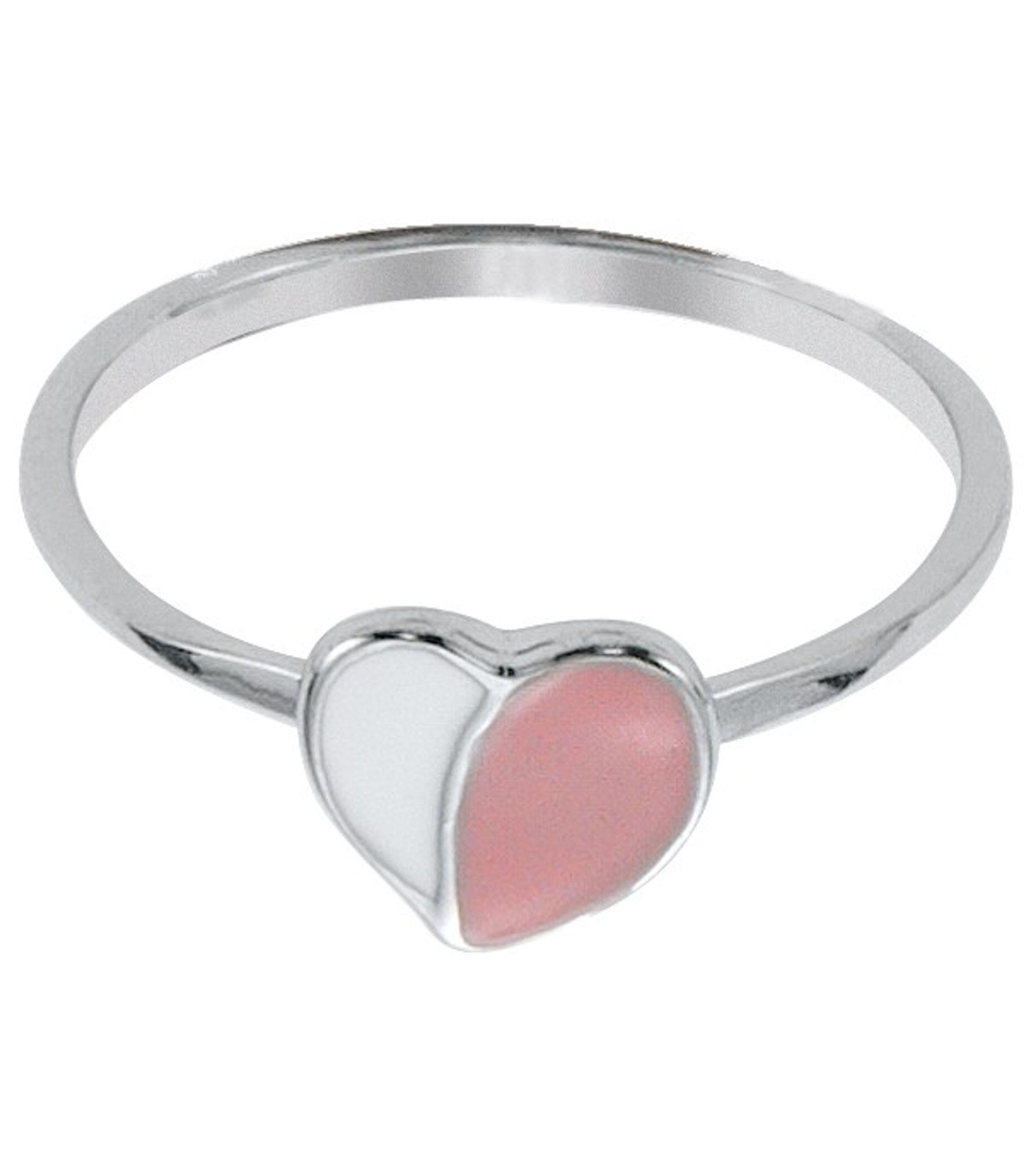 Basic Silber 53.KS101 Mädchen Ring Herz Silber 48 (15.3) rosa weiß