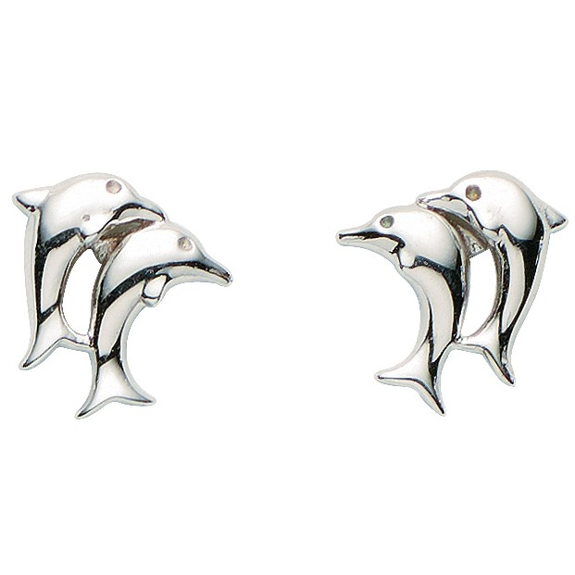 Basic Silber 01.KS107 Mädchen Ohrstecker Delfine Silber