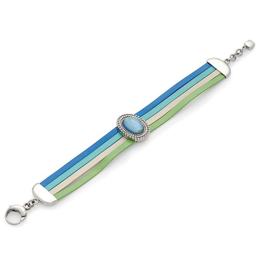 Leonardo 015451 Damen Armband Amabile Edelstahl grün-blau 19 cm