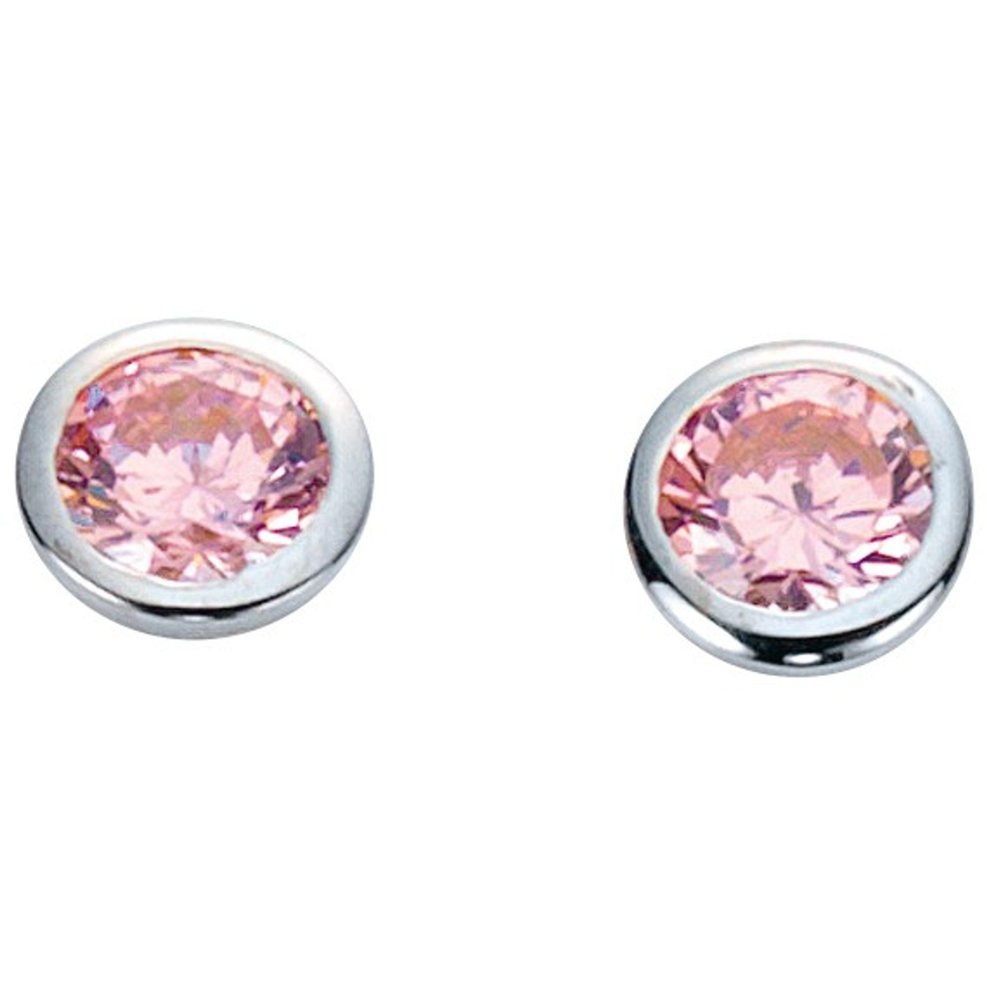 Basic Silber 01.1098P Damen Ohrstecker Silber Zirkonia rosa