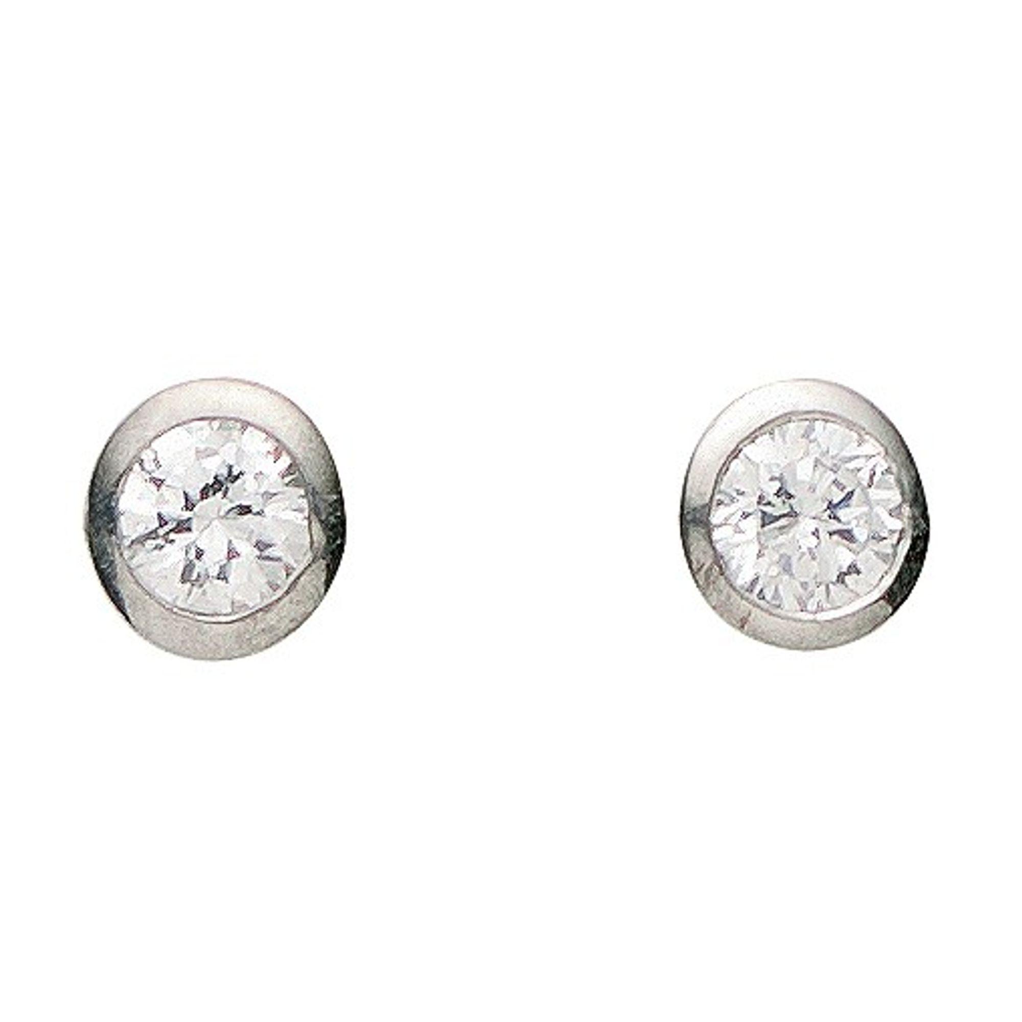 Basic Silber 01.1097W Damen Ohrstecker Silber Zirkonia weiß