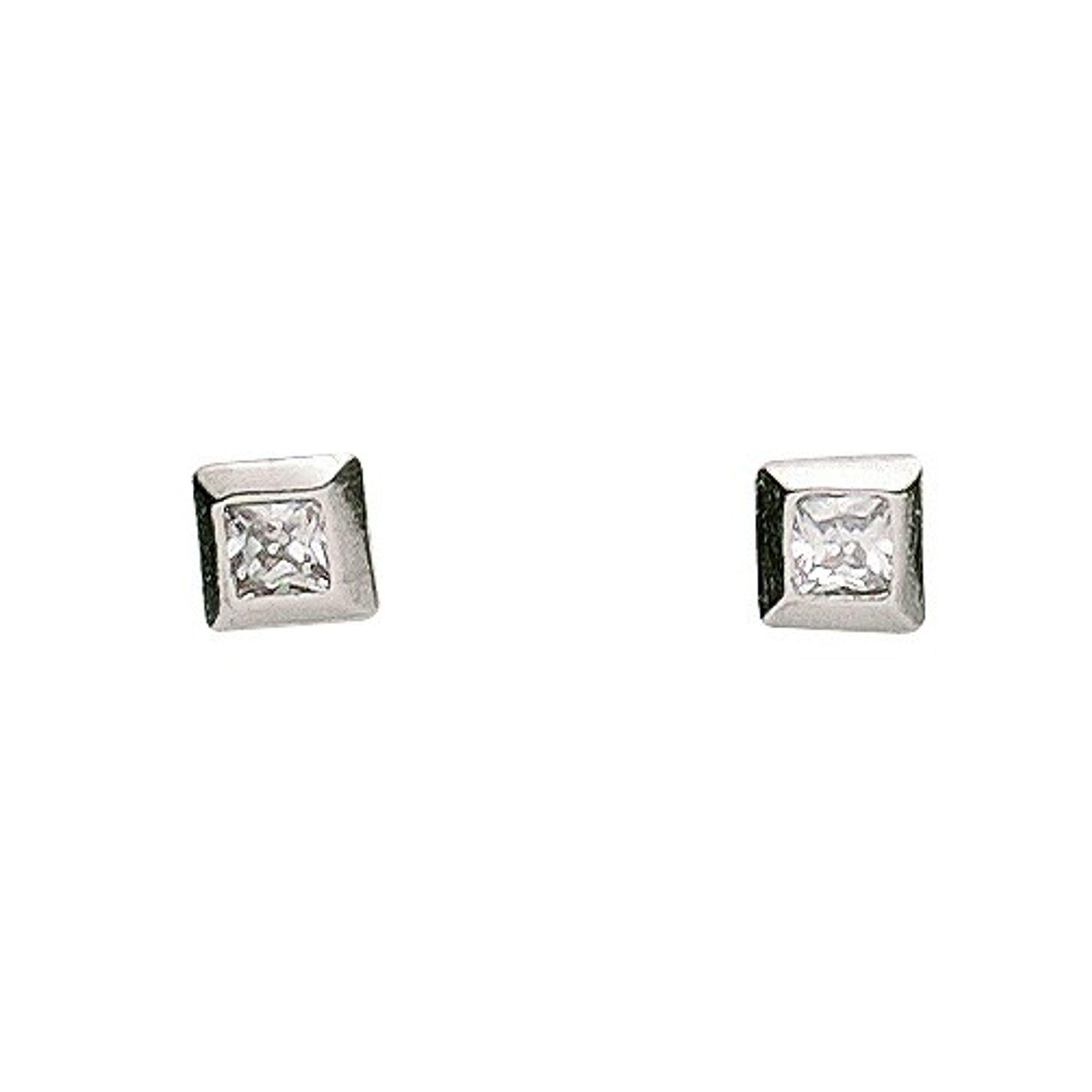Basic Silber 01.1099W Damen Ohrstecker Silber Zirkonia weiß