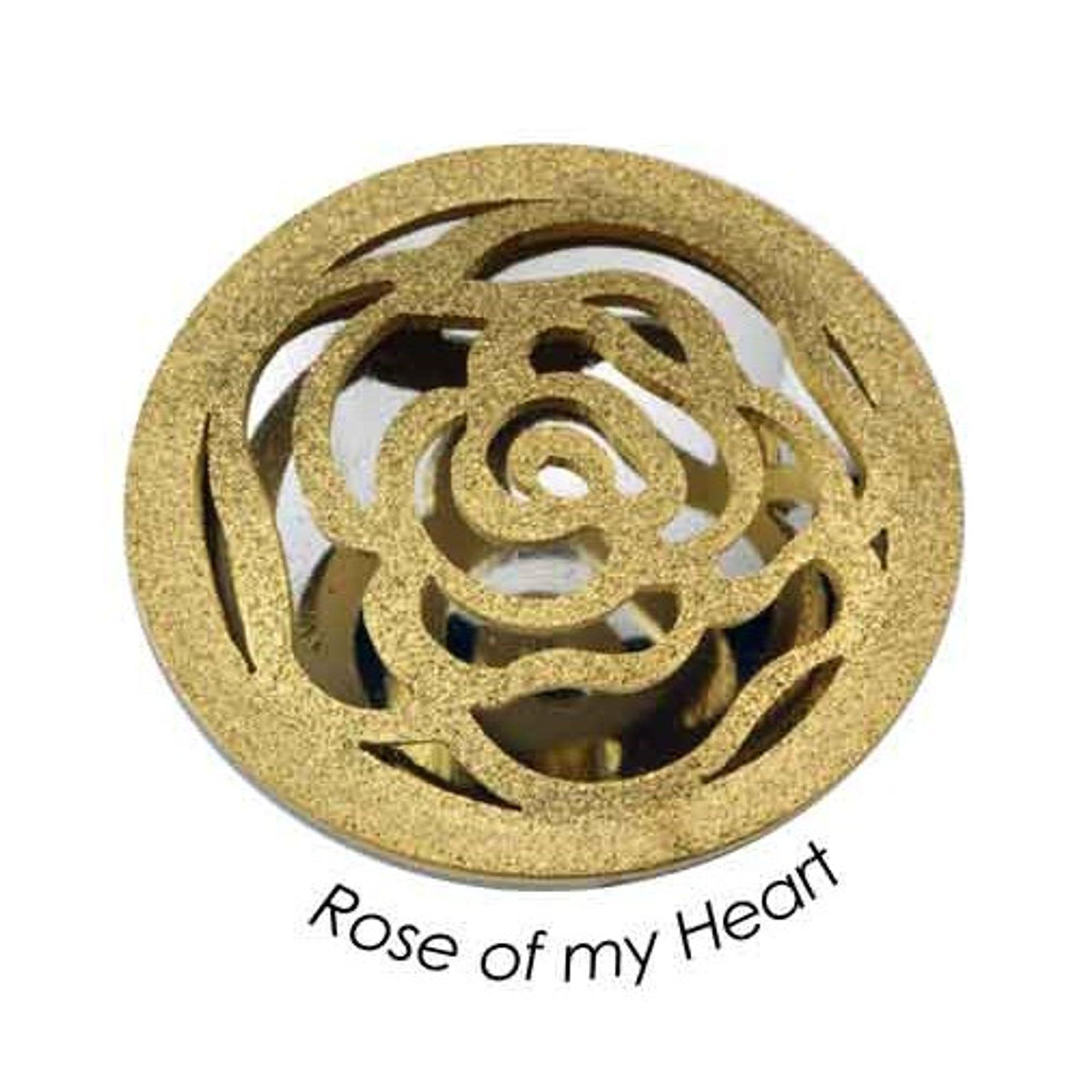 Quoins QMOX-07L-G Damen Anhänger Rose Refelction Edelstahl gold