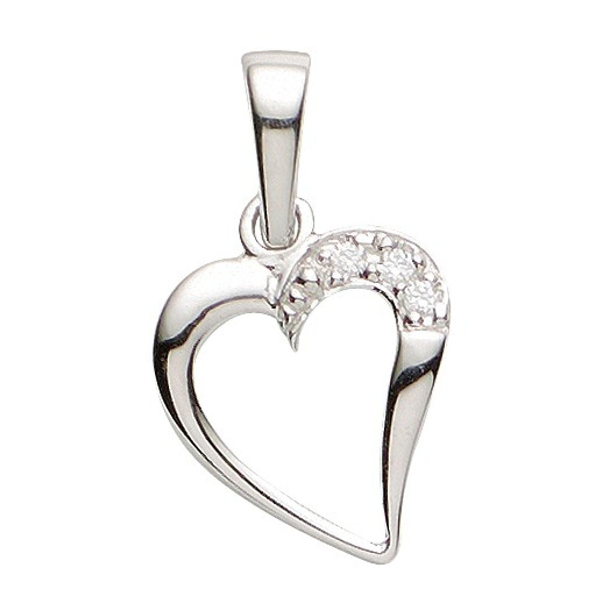 Basic Silber 21.1148S Damen Anhänger Herz Silber Zirkonia weiß