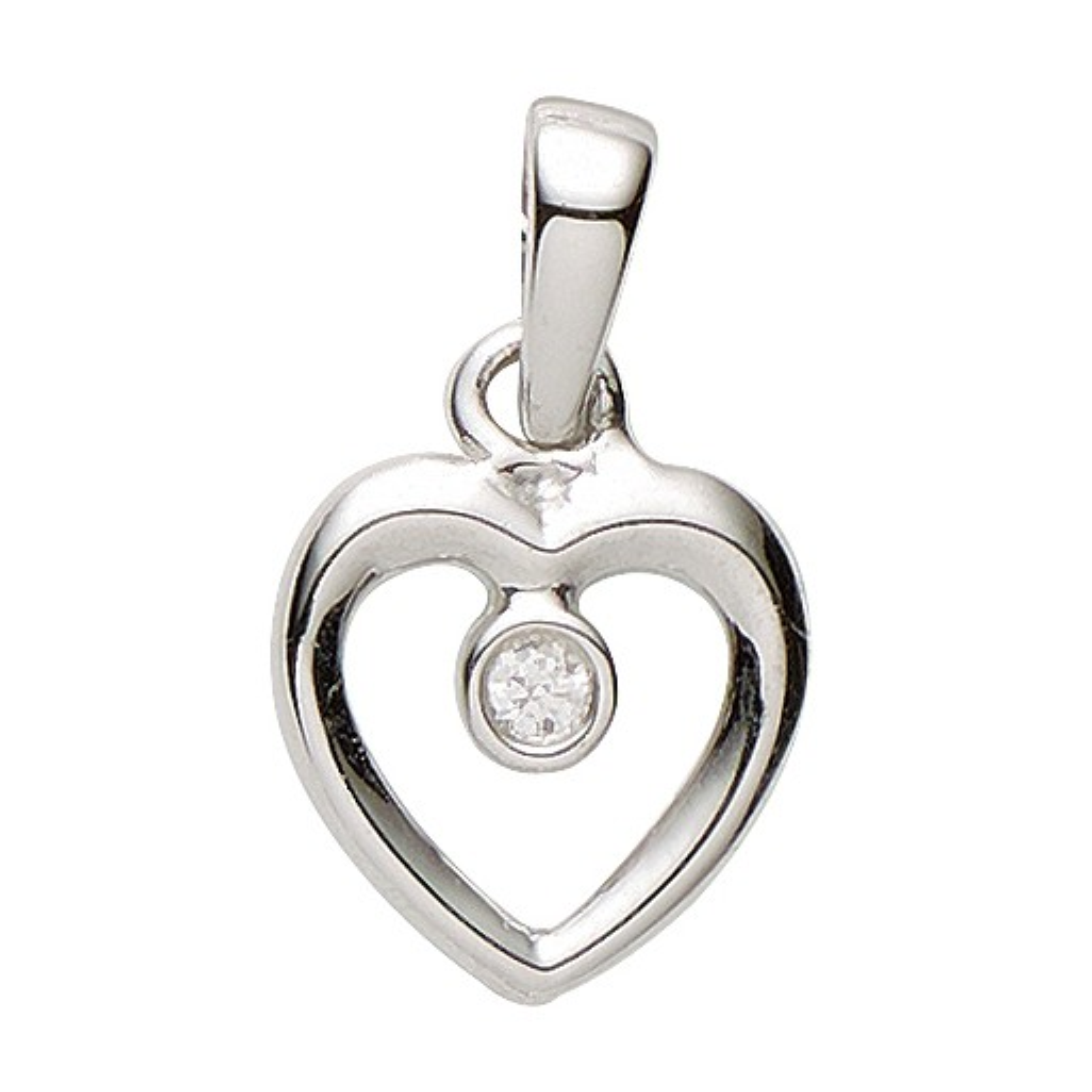 Basic Silber 21.1147S Damen Anhänger Herz Silber Zirkonia weiß