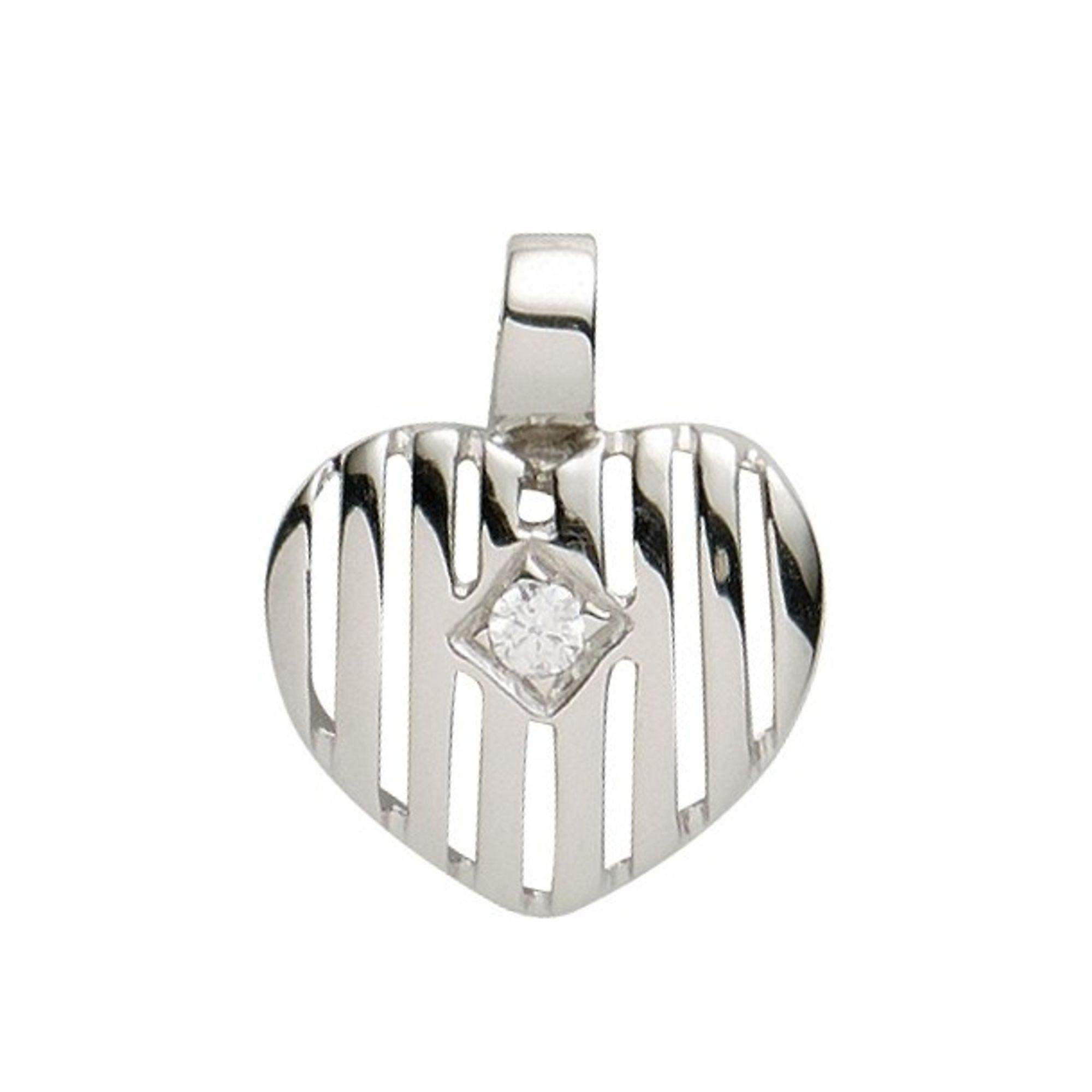 Basic Silber 21.1125S Damen Anhänger Herz Silber Zirkonia weiß
