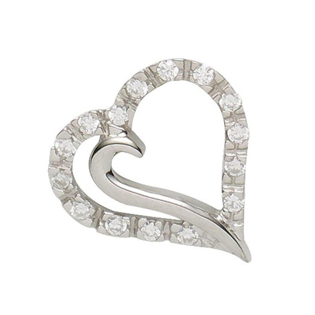 Basic Silber 21.0014S Damen Anhänger Herz Silber Zirkonia weiß